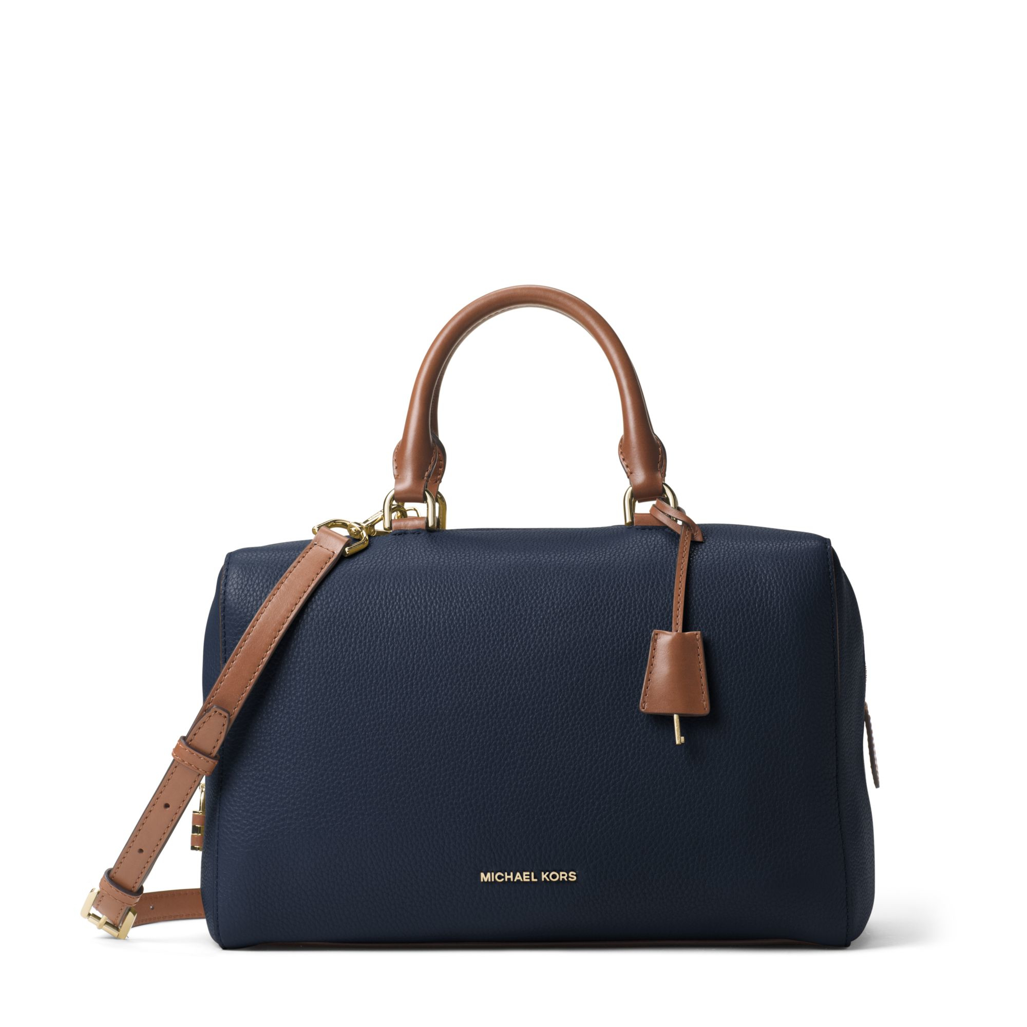3e62ef916003 ... switzerland michael kors kirby large leather satchel in blue lyst a46b2  fcc57