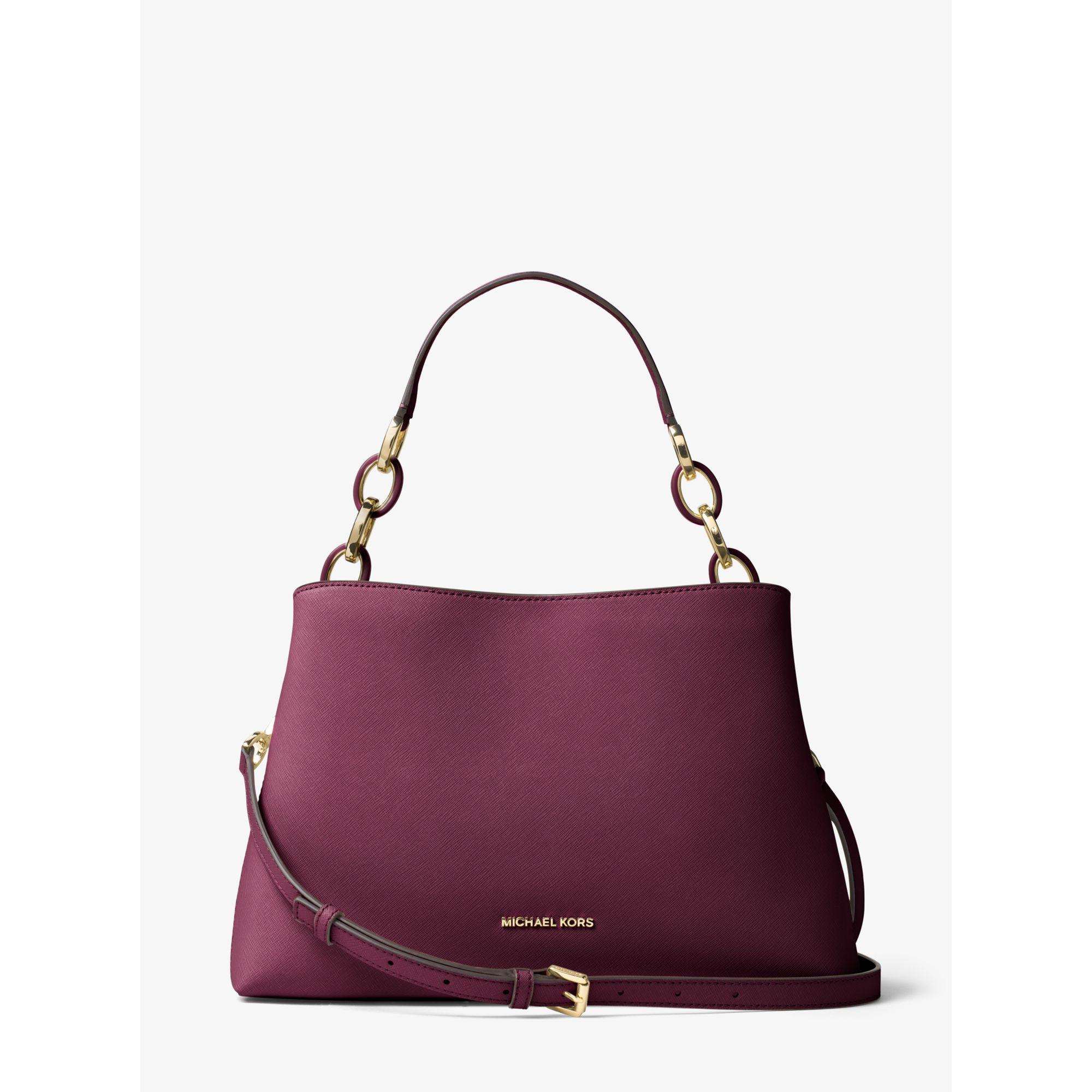 Michael kors Portia Large Saffiano Leather Shoulder Bag in Purple ...