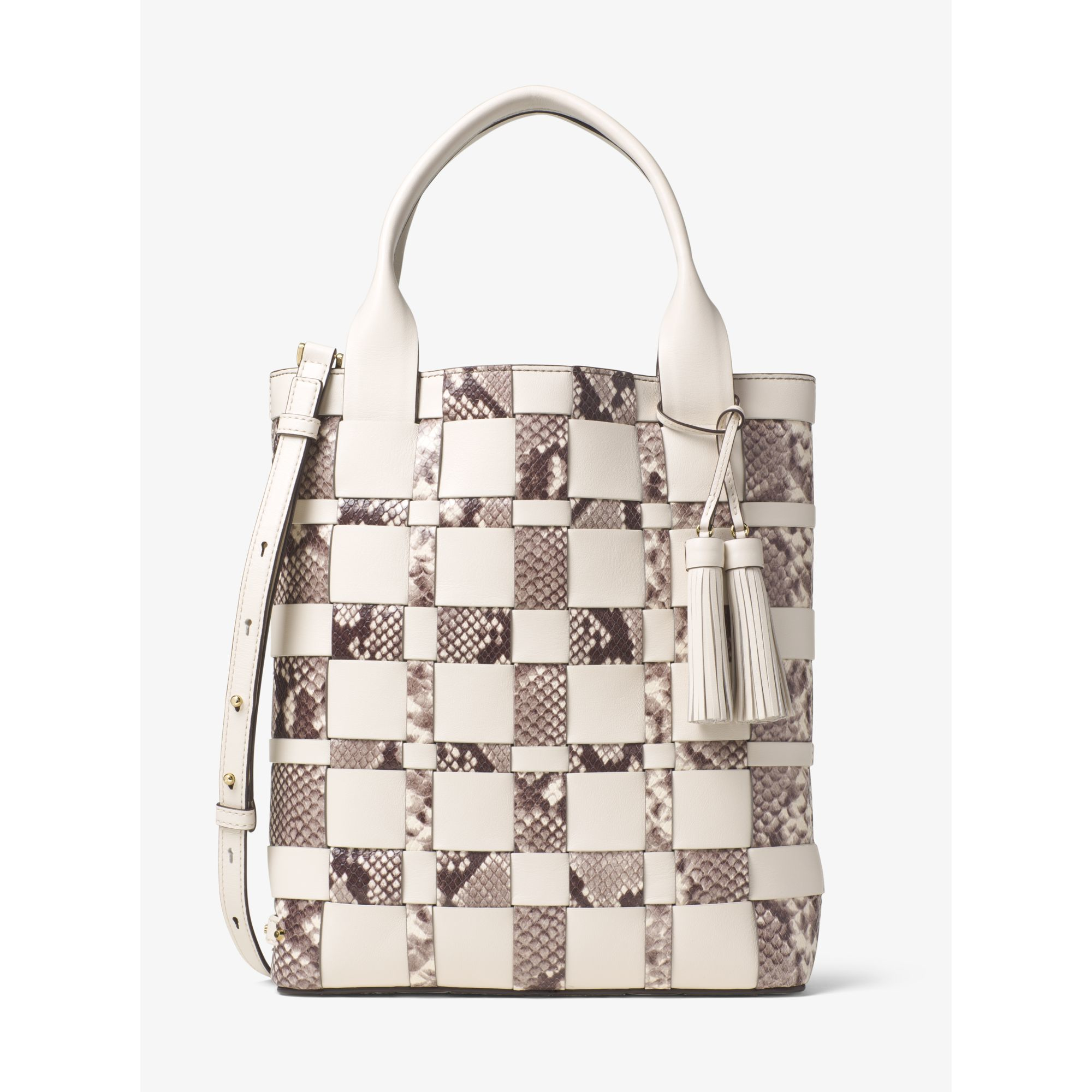 d8bd6e81c52f Lyst - Michael Kors Vivian Large Woven Leather Tote in Natural