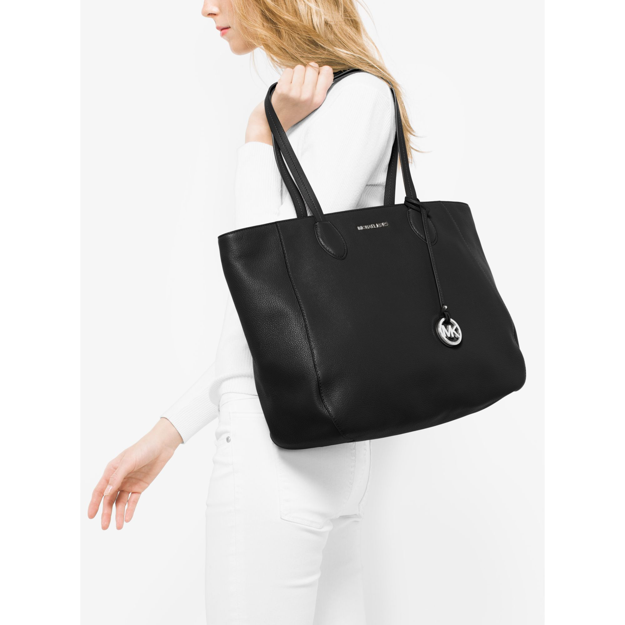 537914f4d5b249 coupon code for lyst michael kors ani large leather tote in black 8d905  9fb17
