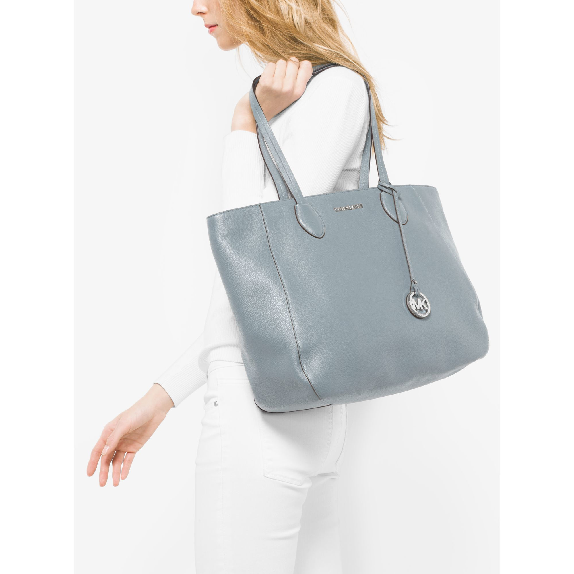 7a1dce5edd03 Lyst - Michael Kors Ani Large Leather Tote in Blue