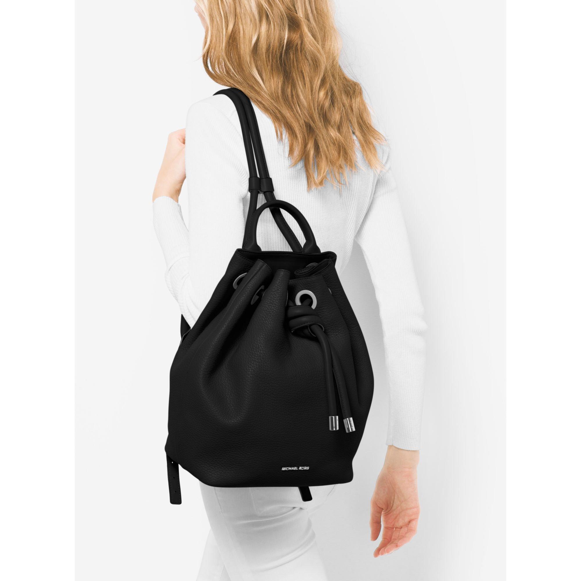Michael kors Dalia Large Leather Backpack in Black | Lyst