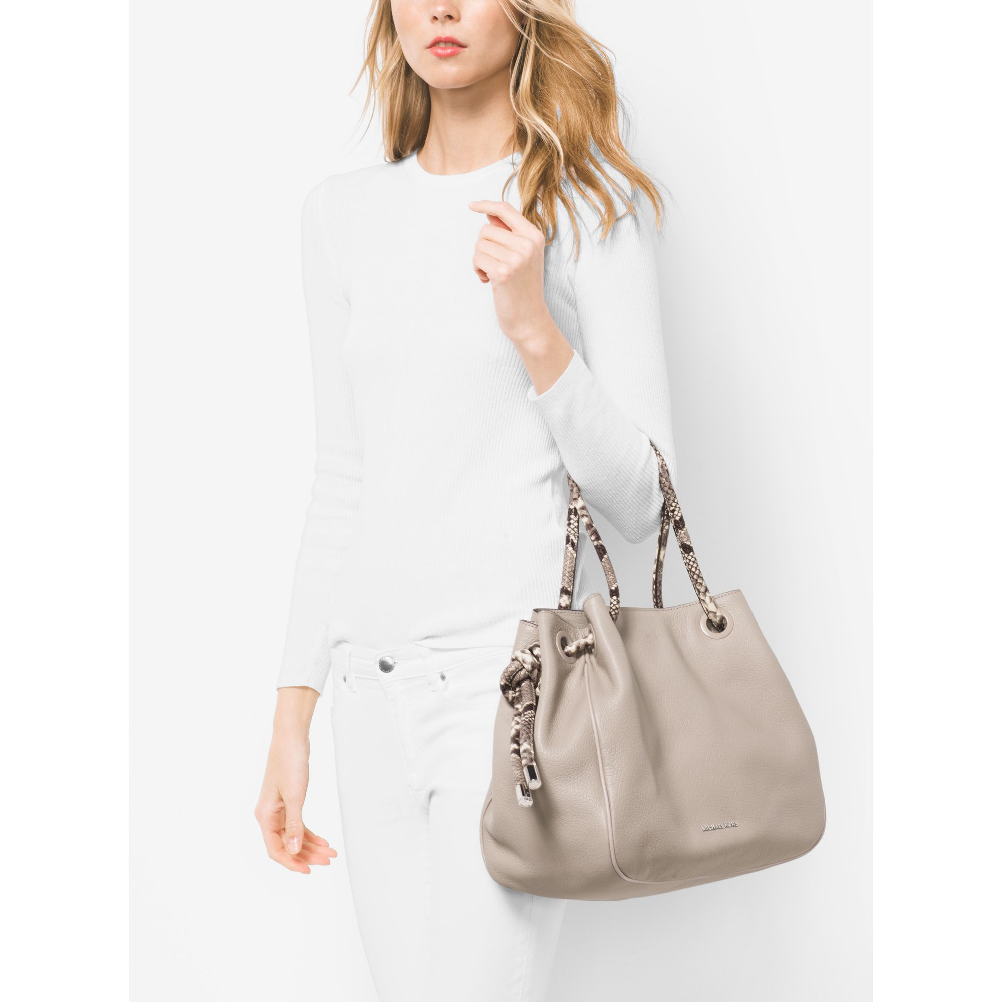 1e2ce58d01d97b Michael Kors Dalia Large Leather Tote in Gray - Lyst