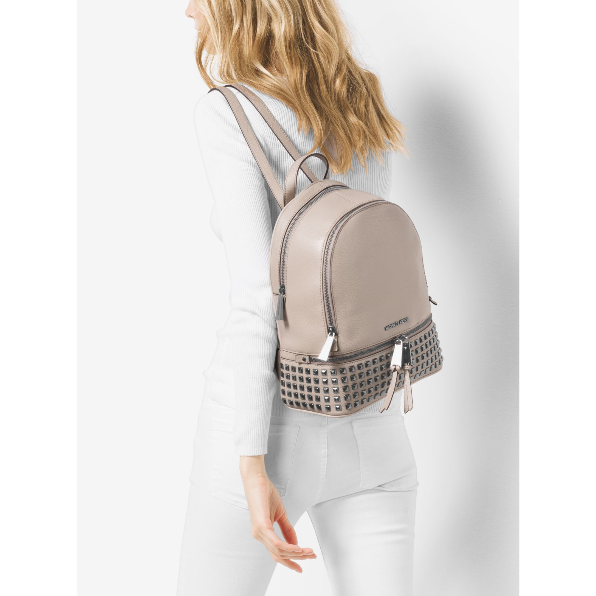 4267bc06cc50 ... new zealand official lyst michael kors rhea medium leather studded  backpack in gray 41b98 04844 4048b