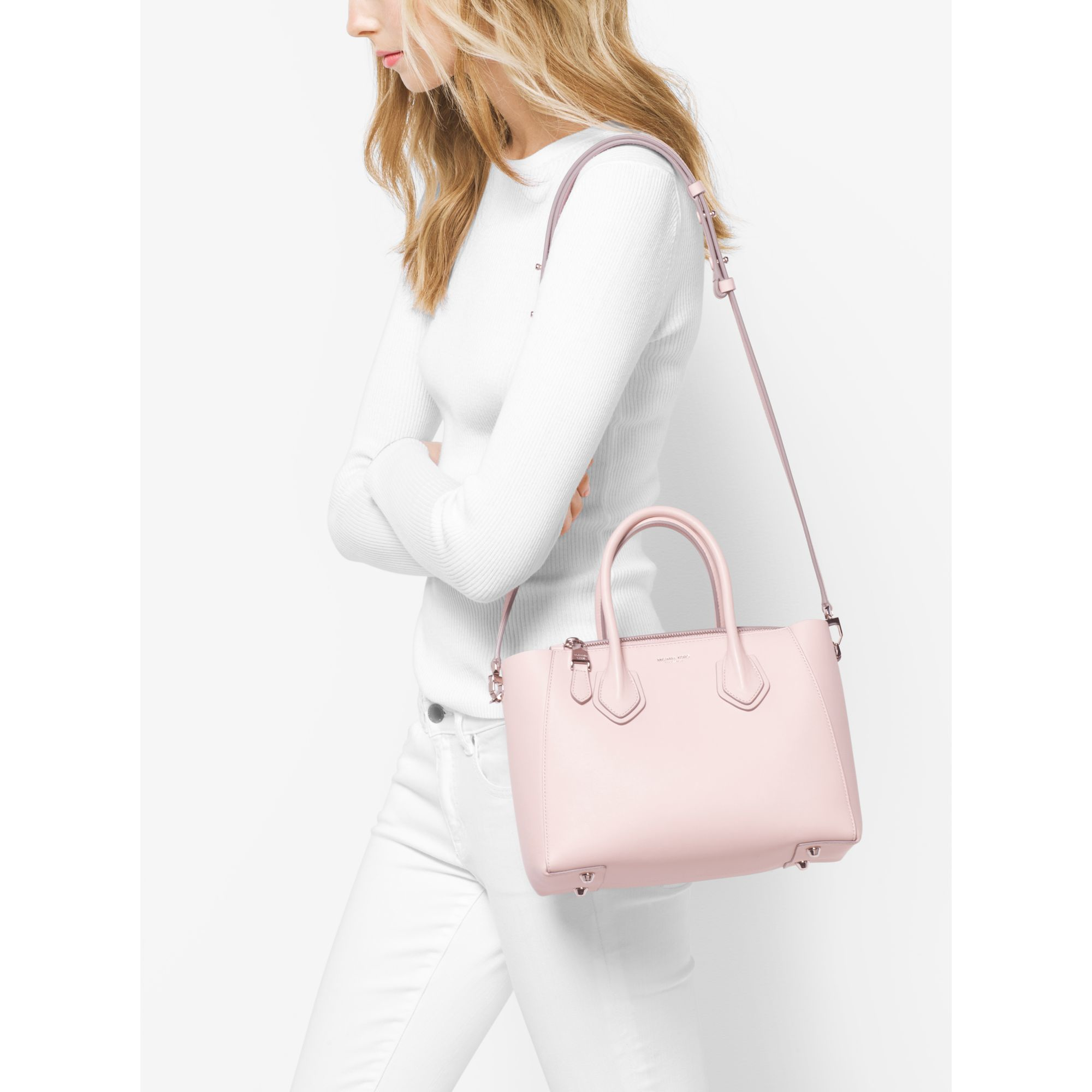 6a6bf64704ca Lyst - Michael Kors Helena Small French Calf Leather Satchel in Pink