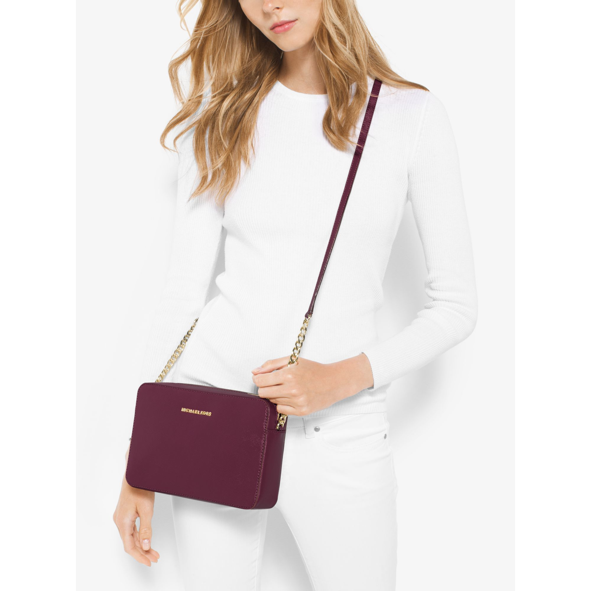6478804537f00c Michael Kors Jet Set Large Patent Leather Crossbody Bag in Purple - Lyst
