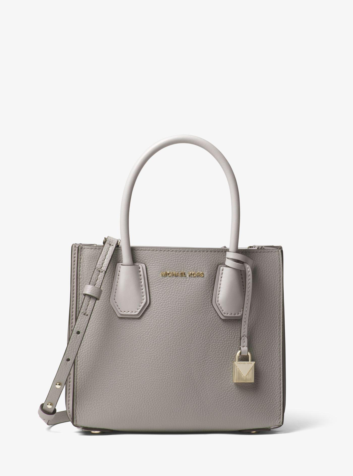 cadd8c29d4c2 Lyst - Michael Kors Mercer Pebbled Leather Accordion Crossbody in Gray
