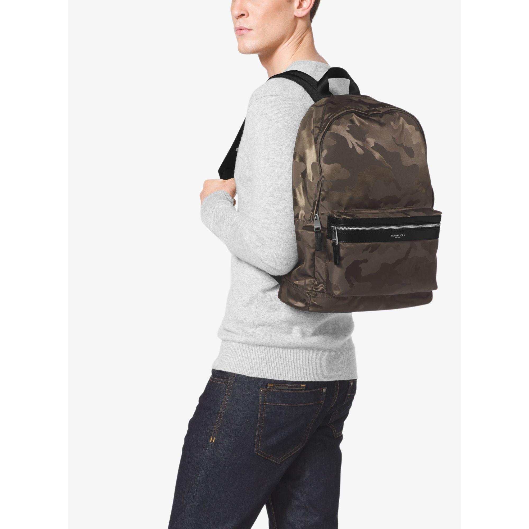 c4b6eb52b32e34 Michael Kors Kent Camouflage Nylon Jacquard Backpack in Green for ...