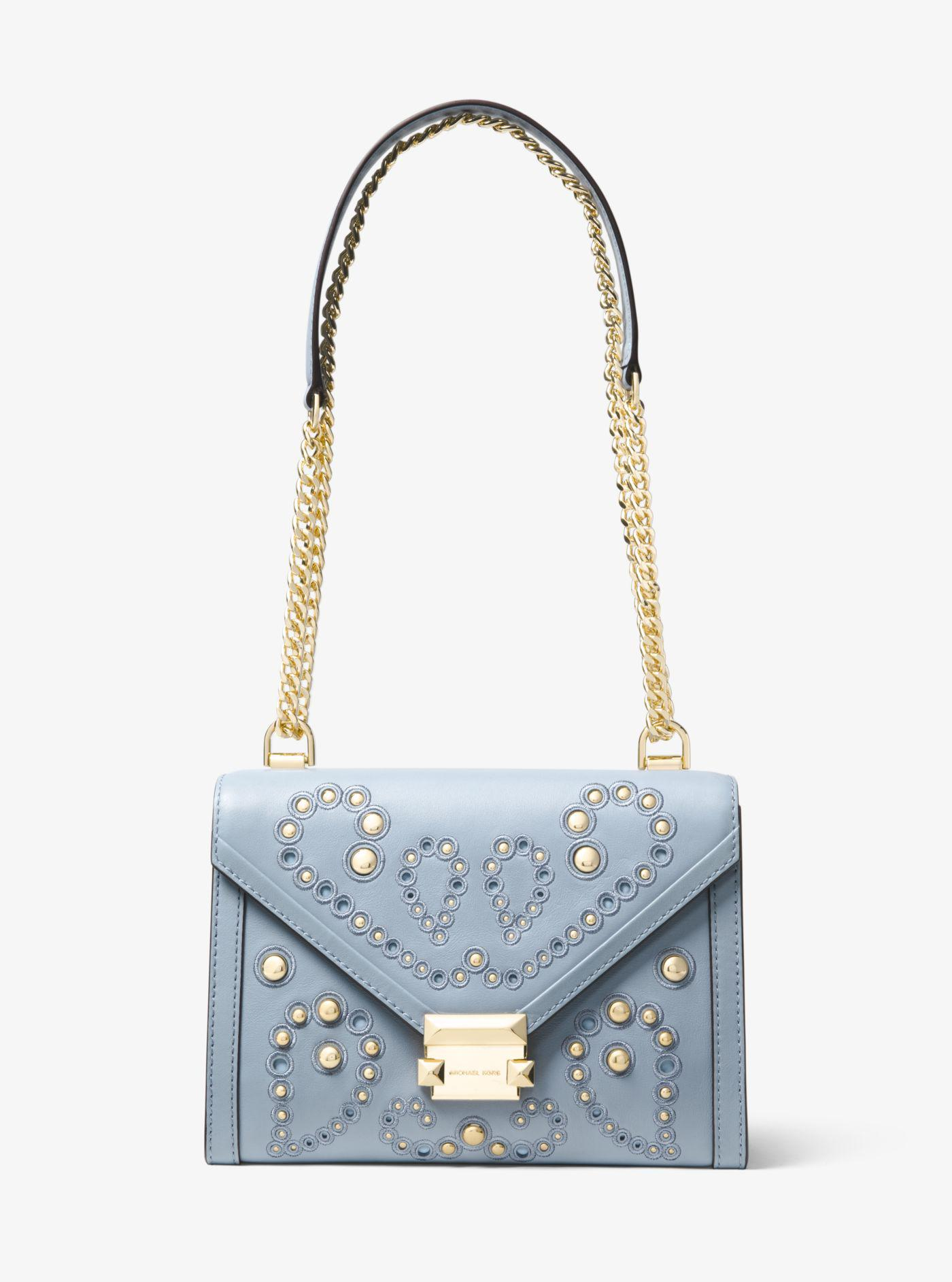 22a8f800b5f9 ... canada michael kors. womens blue whitney large embellished leather  convertible shoulder bag 6e0be 2d659