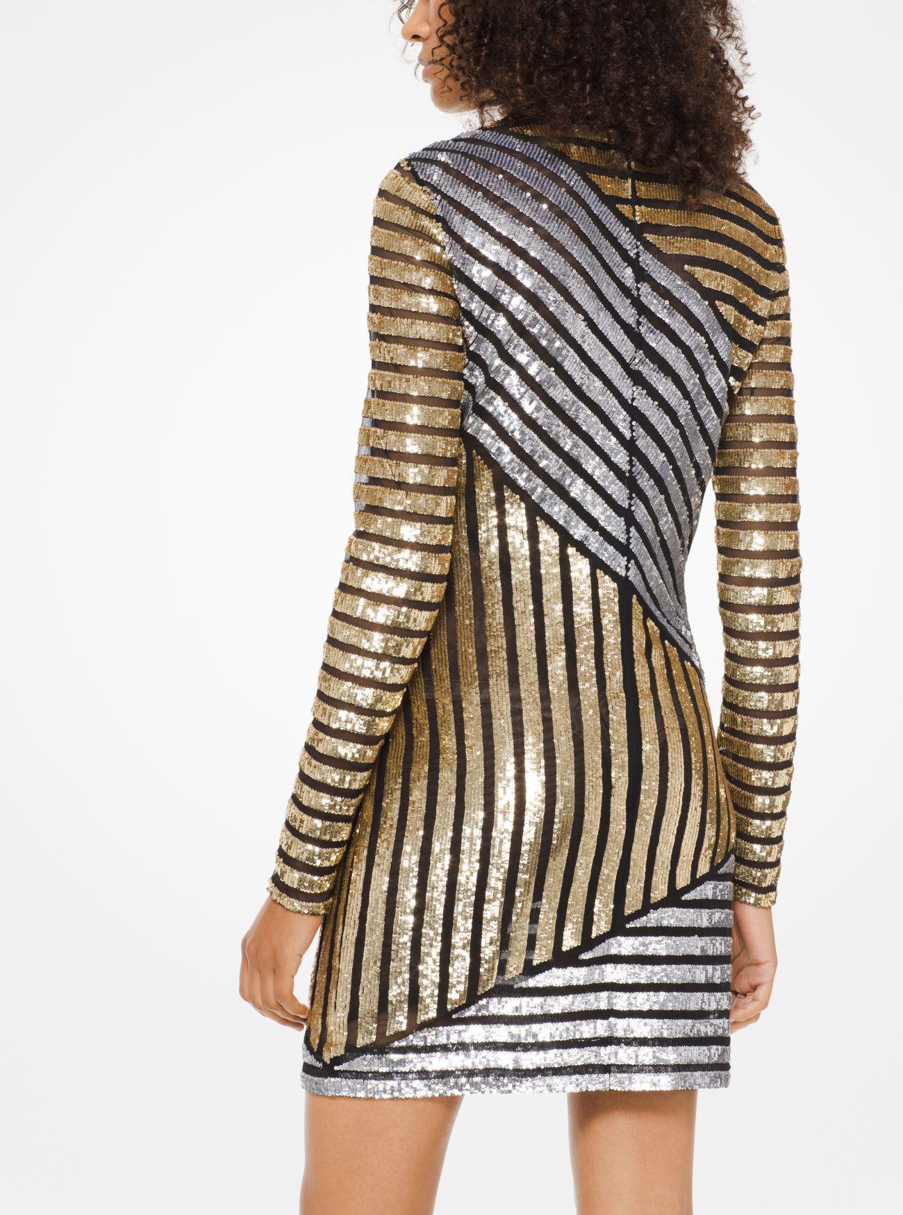 a370c665d71 Michael Kors - Black Stripe Sequined T-shirt Dress - Lyst. View fullscreen