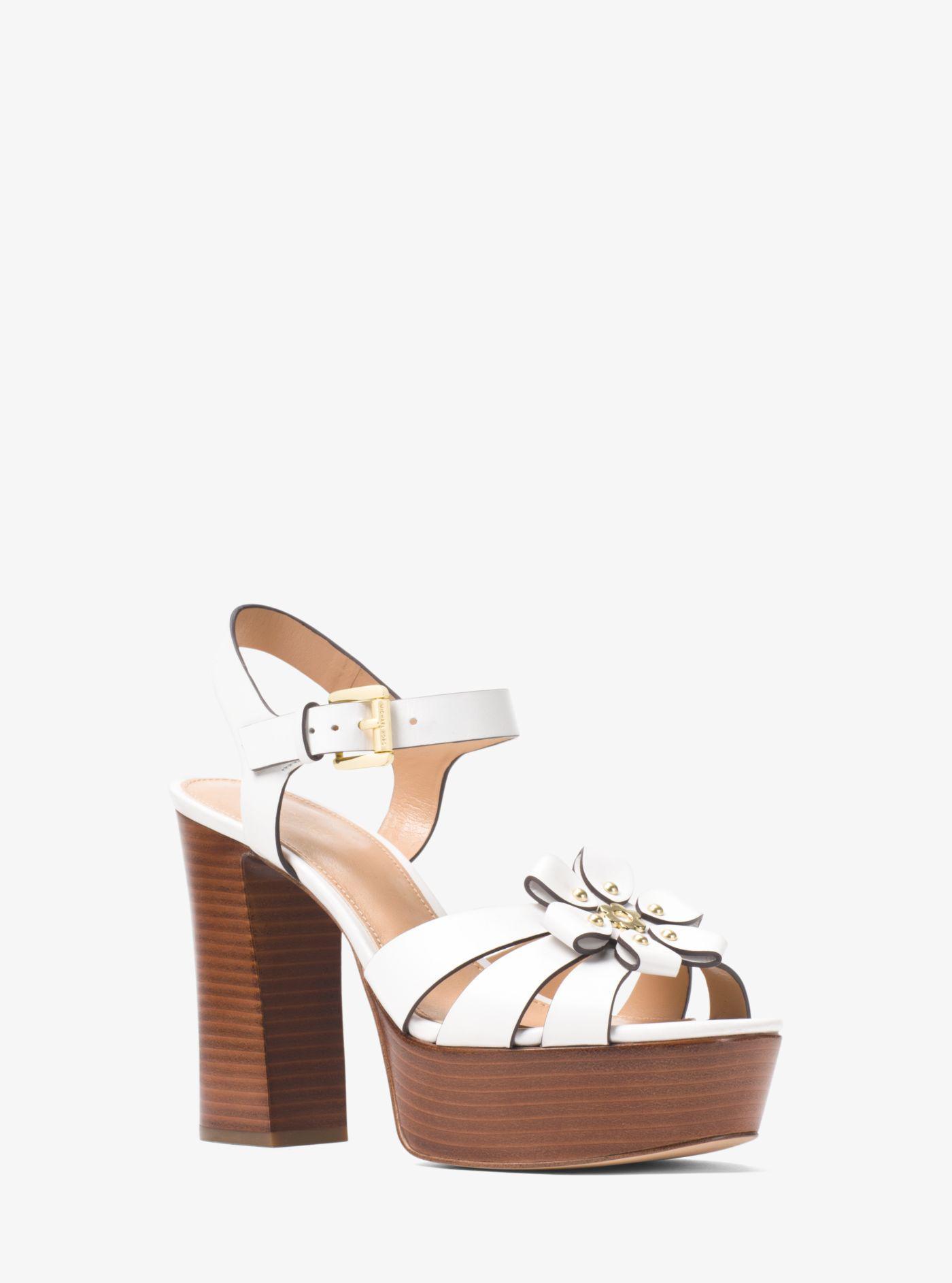 MICHAEL Michael Kors Tara Floral Applique Block Heel Platform Dress Sandals 4pMCey
