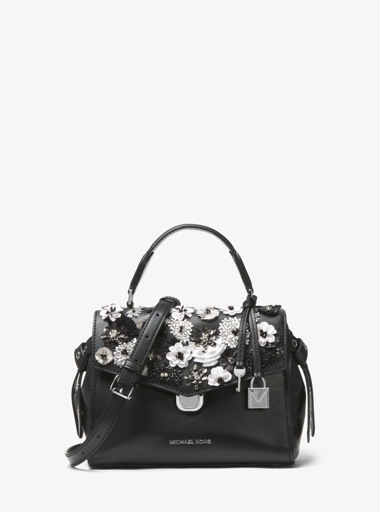 c1032bcb473cb3 Michael Kors Bristol Small Floral Sequined Leather Satchel in Black ...