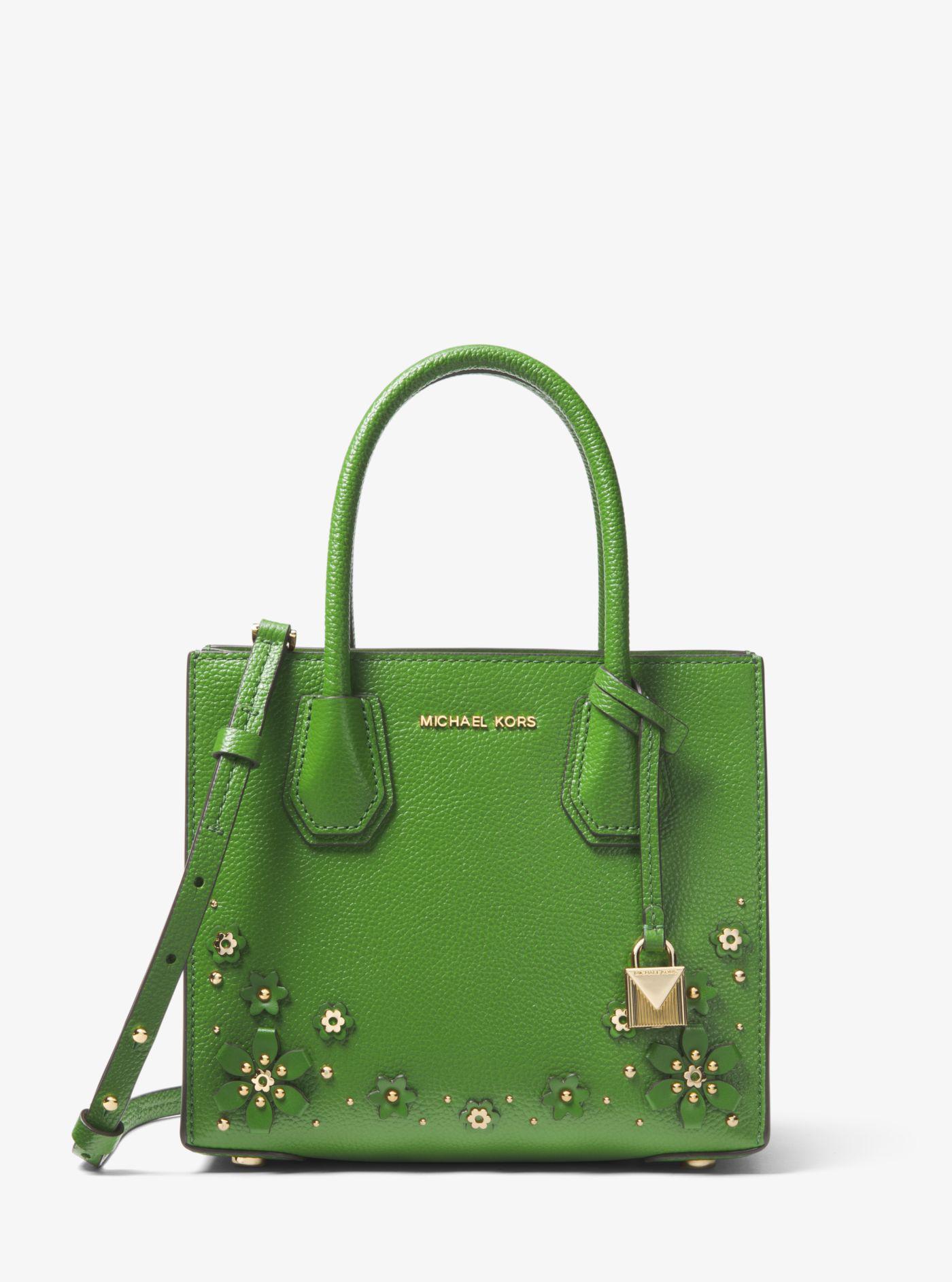 13300dbdf7e1 Lyst - Michael Kors Mercer Floral Embellished Leather Crossbody in Green