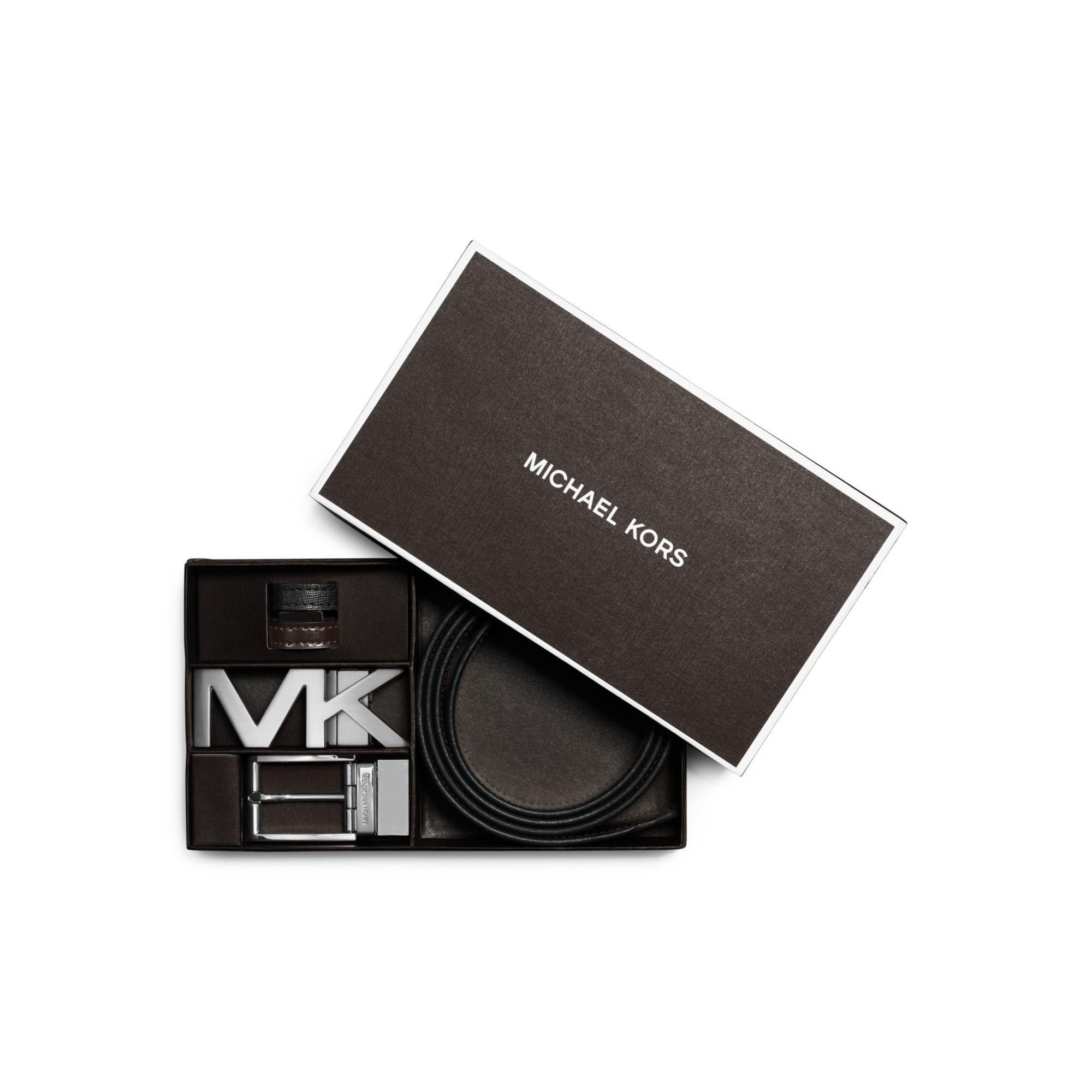 309557b20480 ... amazon lyst michael kors reversible saffiano leather belt set in black  86dc1 6ace4