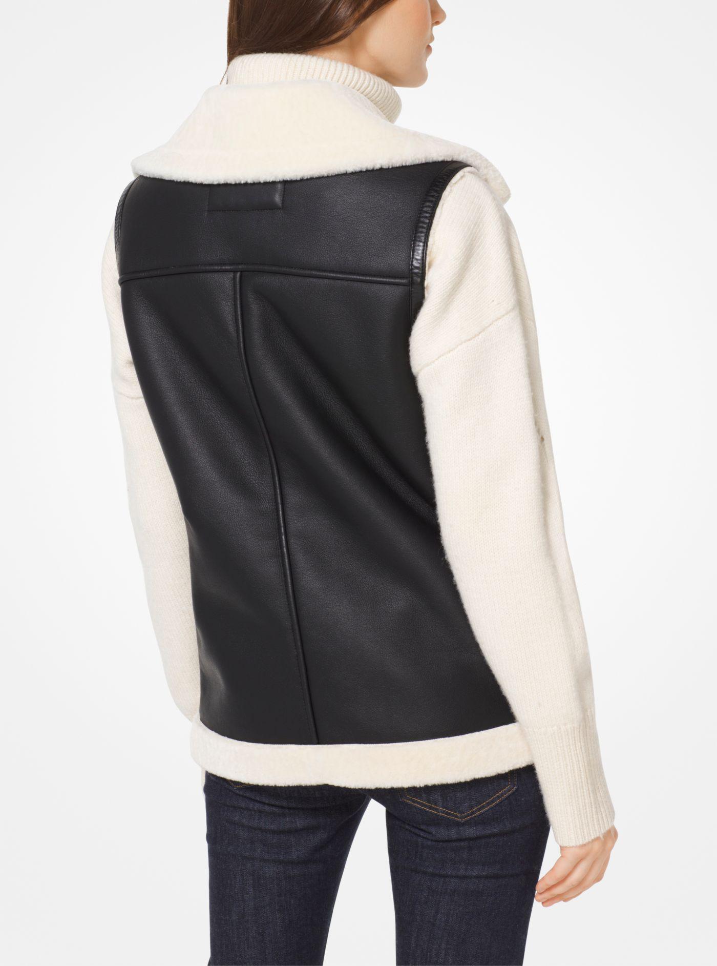 d80ab06bd4e Lyst - Michael Kors Faux-shearling Moto Vest in Black