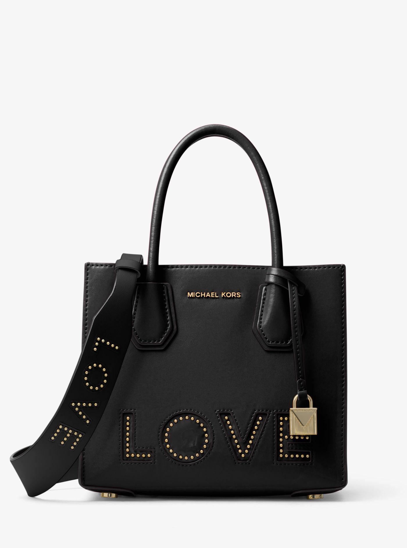 94a8b6baa85a Michael Kors Love Studded Leather Handbag Strap in Black - Lyst