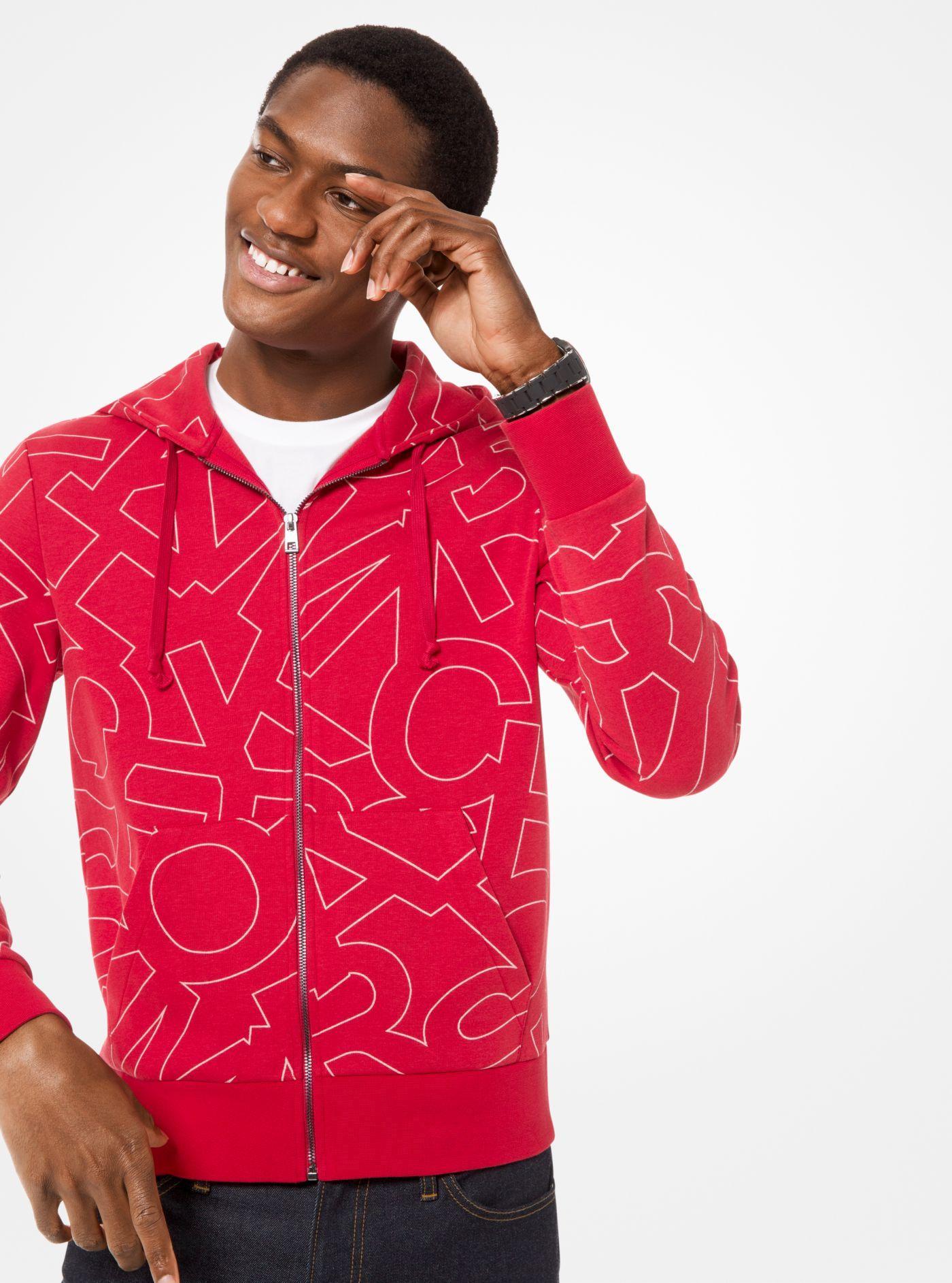 8ba0e9f087280 Lyst - Michael Kors Graphic Logo Print Cotton-blend Zip-up Hoodie in ...