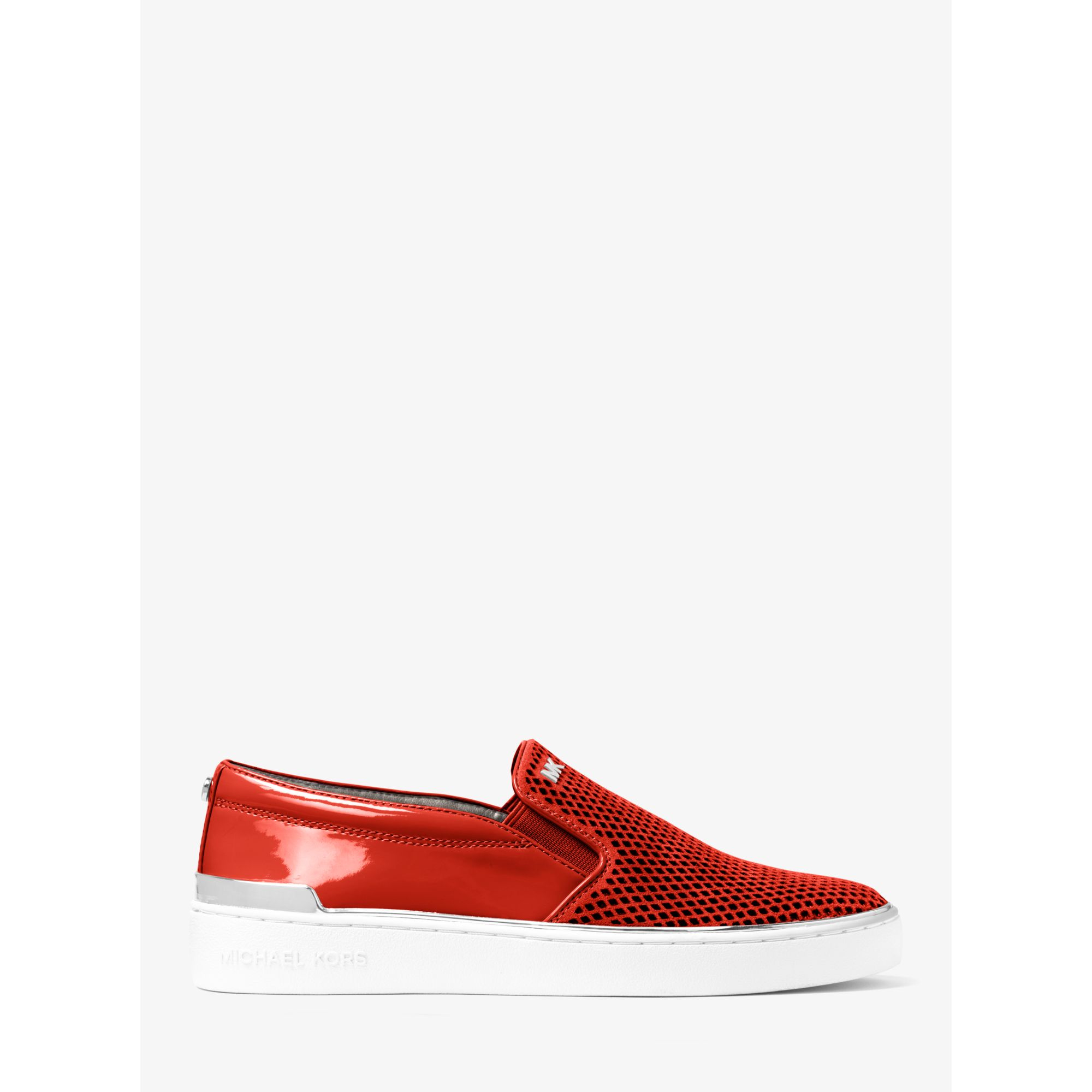 42b1f16fc3683 Lyst - Michael Kors Kyle Perforated Suede Slip-on Sneaker in Red