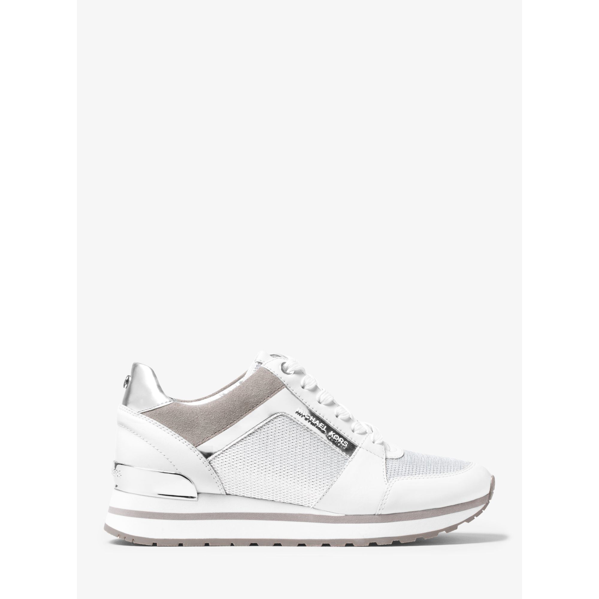32c17a39f61a Lyst - Michael Kors Billie Mesh And Leather Sneaker in White