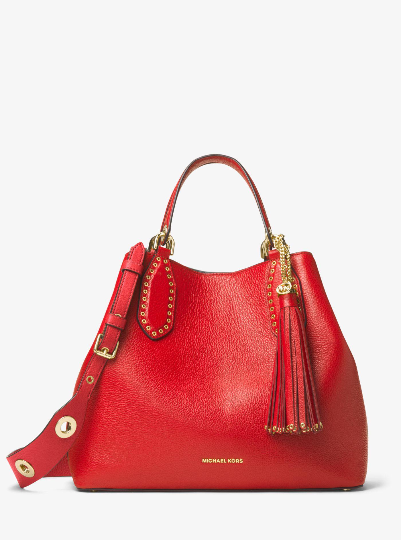 5d102d9156a5 ... greece michael kors red brooklyn large leather tote bag lyst. view  fullscreen fdb86 86fcb