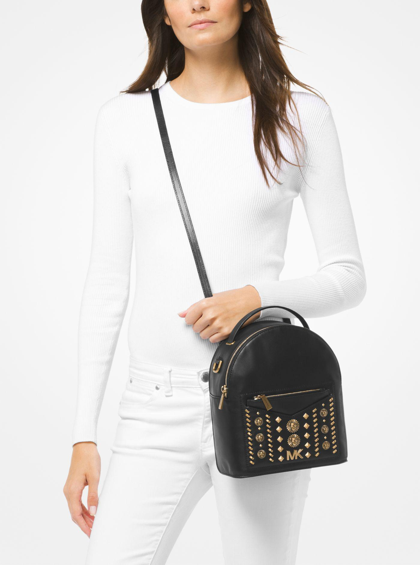 7ead55af9e2804 Michael Kors Jessa Small Embellished Leather Convertible Backpack in ...