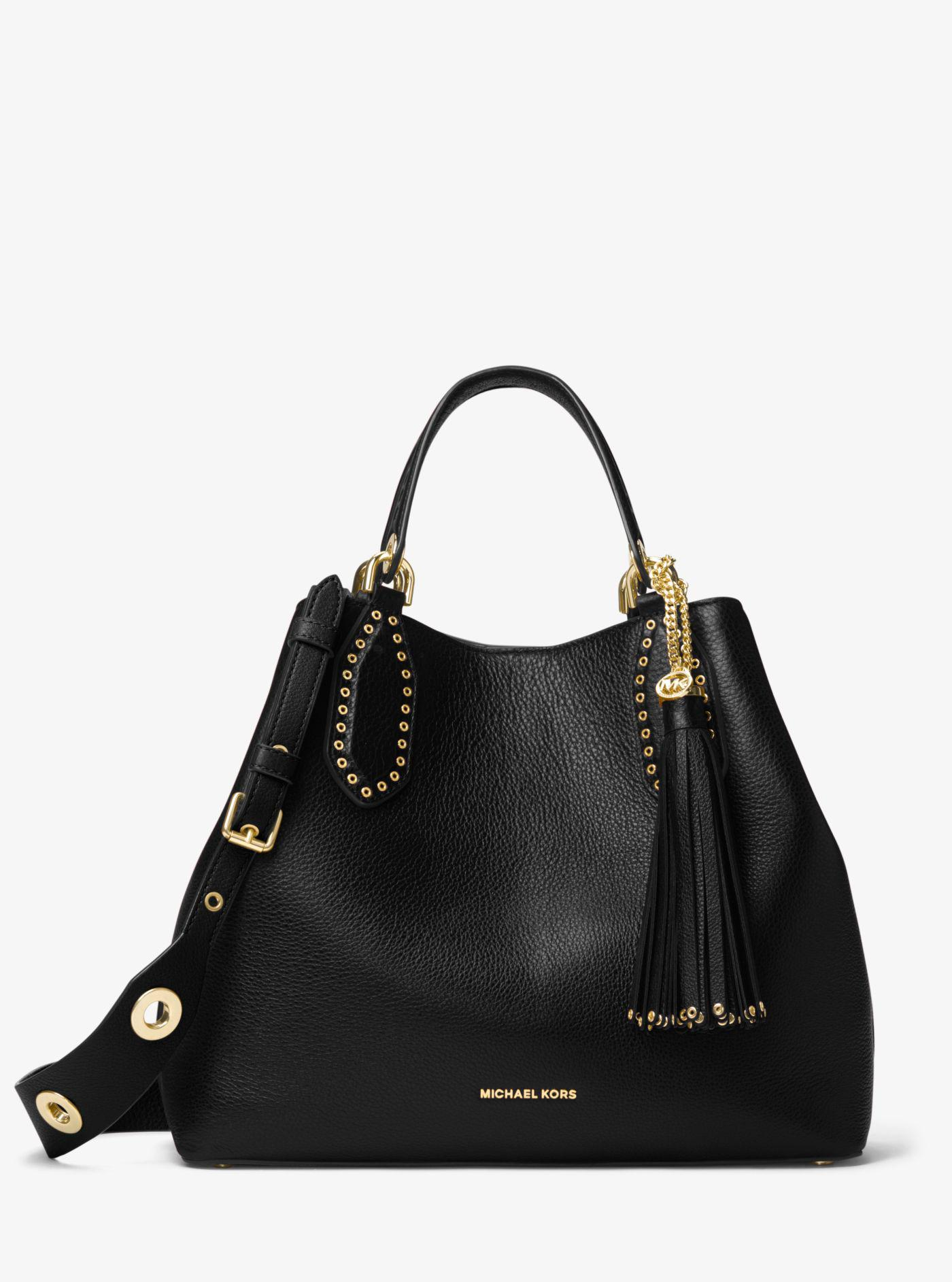 0cc9582425d60 Michael Kors - Black Brooklyn Large Leather Satchel - Lyst. View fullscreen