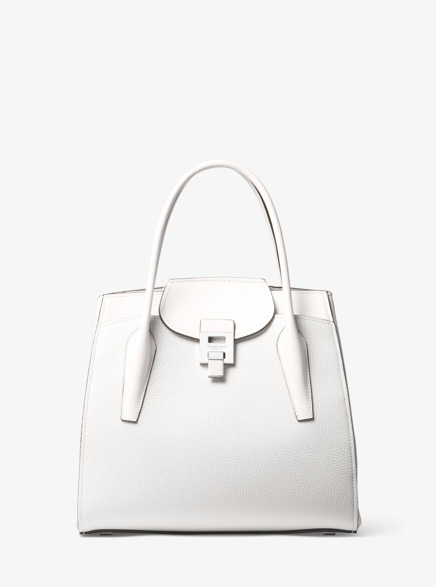 a90a7a31d8c0 Lyst - Michael Kors Bancroft Large Pebbled Calf Leather Satchel in White