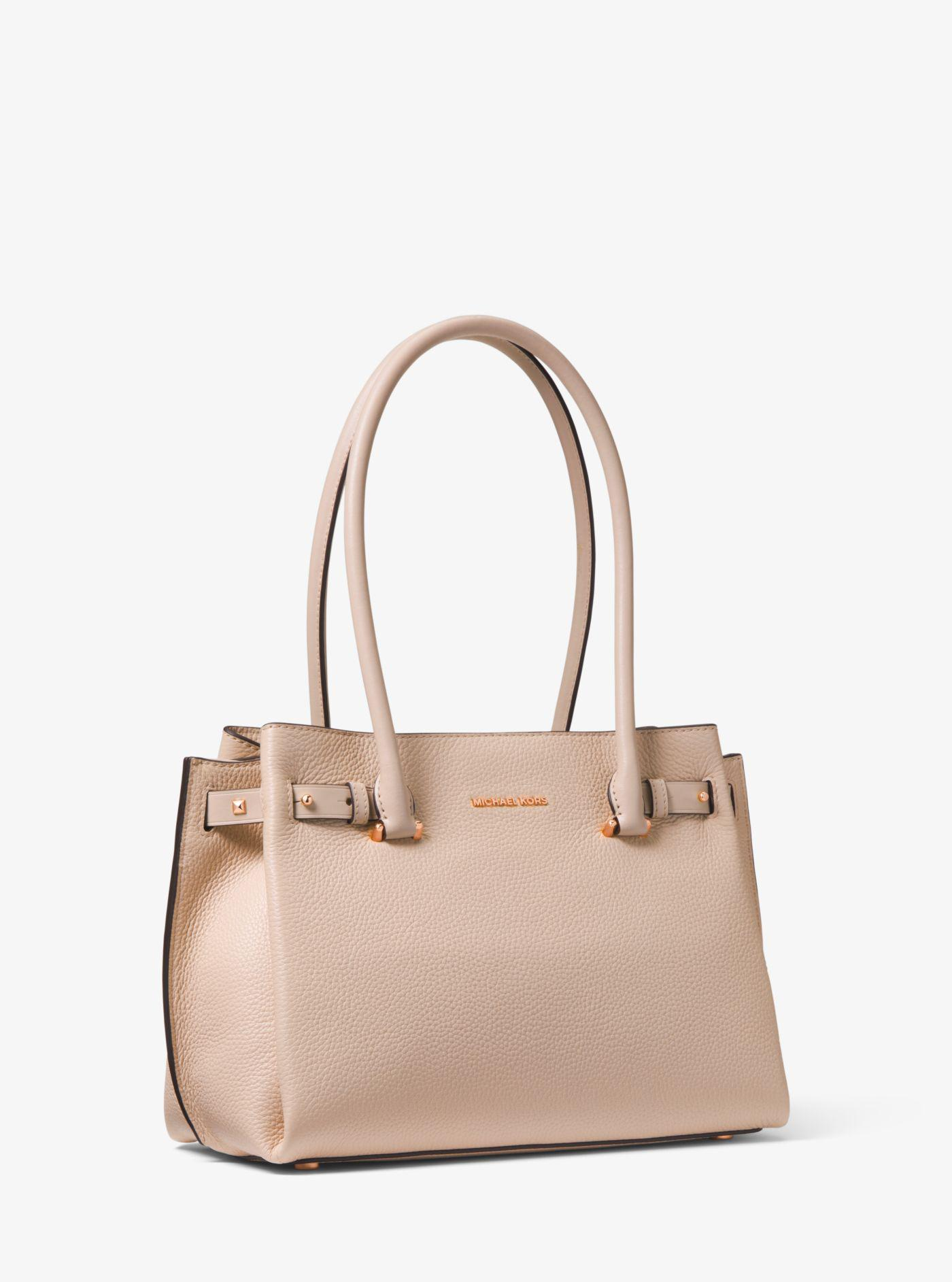 bc5b9a6c425e Michael Kors Addison Medium Pebbled Leather Tote in Pink - Lyst