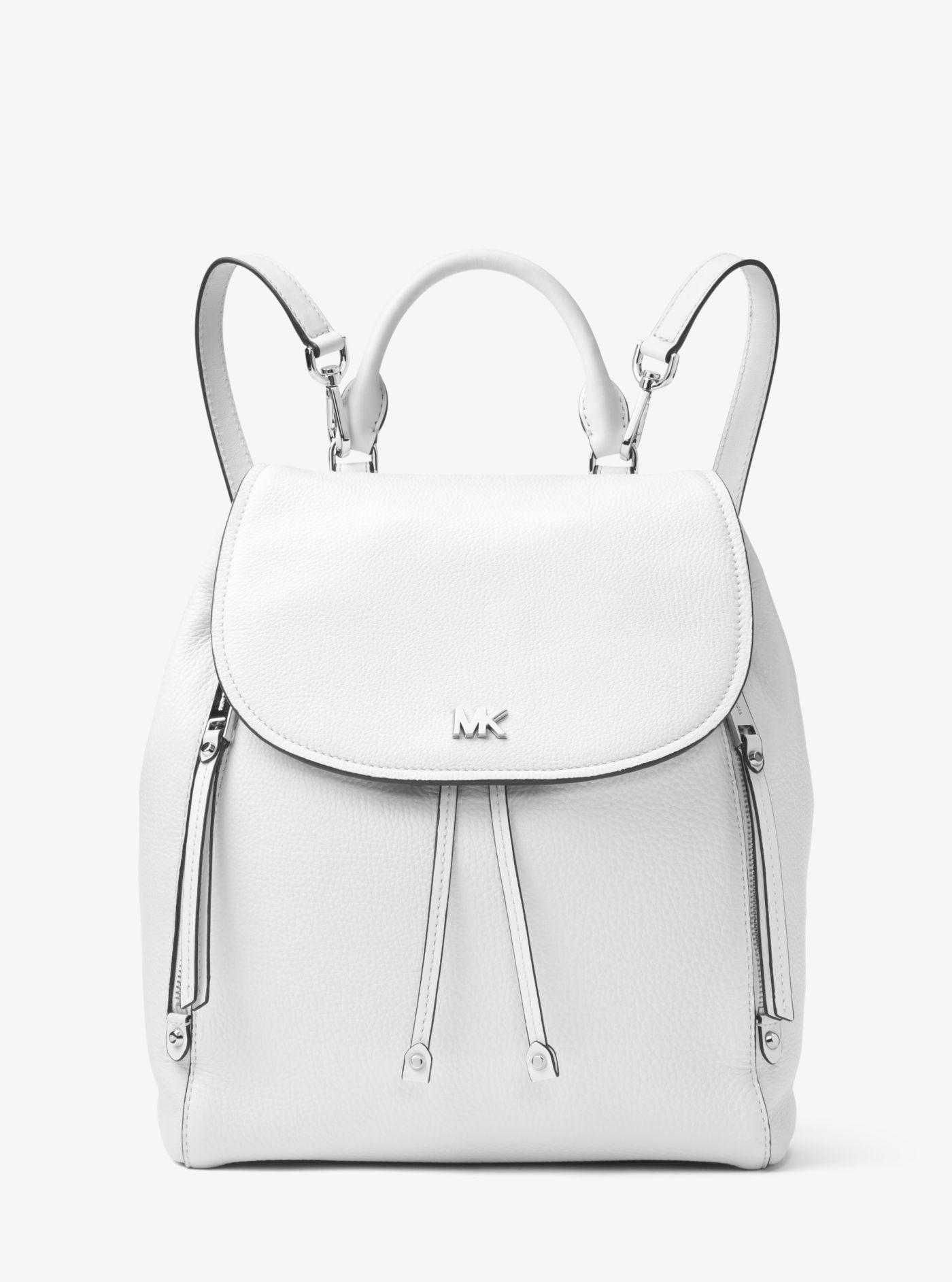 9e06f7d63 Michael Kors Evie Medium Leather Backpack in White - Lyst