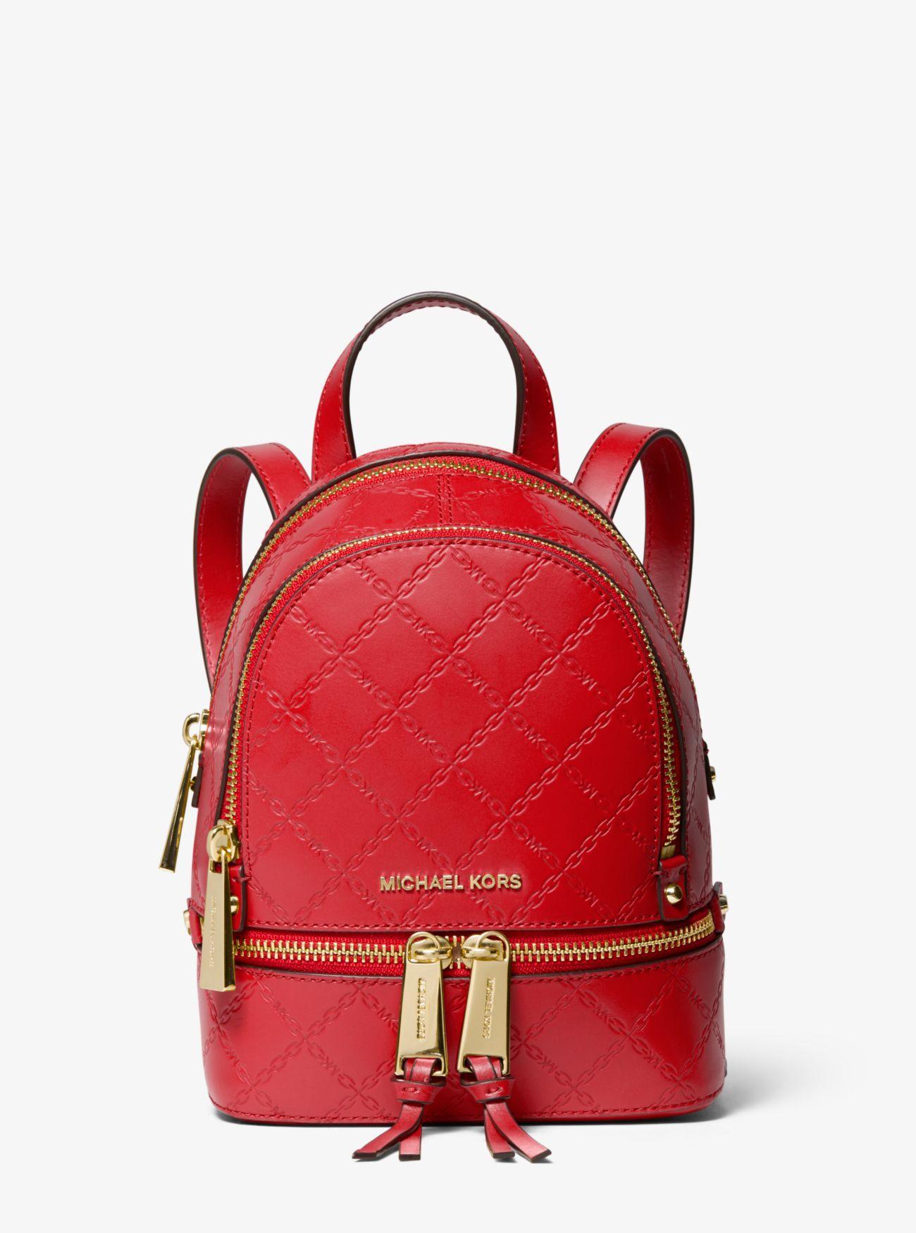 ec7f50483e8d6e Michael Kors - Red Rhea Mini Chain-embossed Leather Backpack - Lyst. View  fullscreen