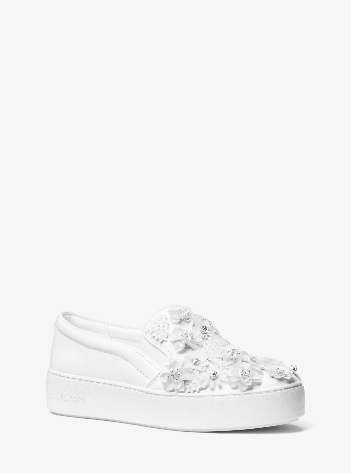 ecf54a03d3 Michael Kors Trent Floral Sequined Slip-on Sneaker in White - Lyst