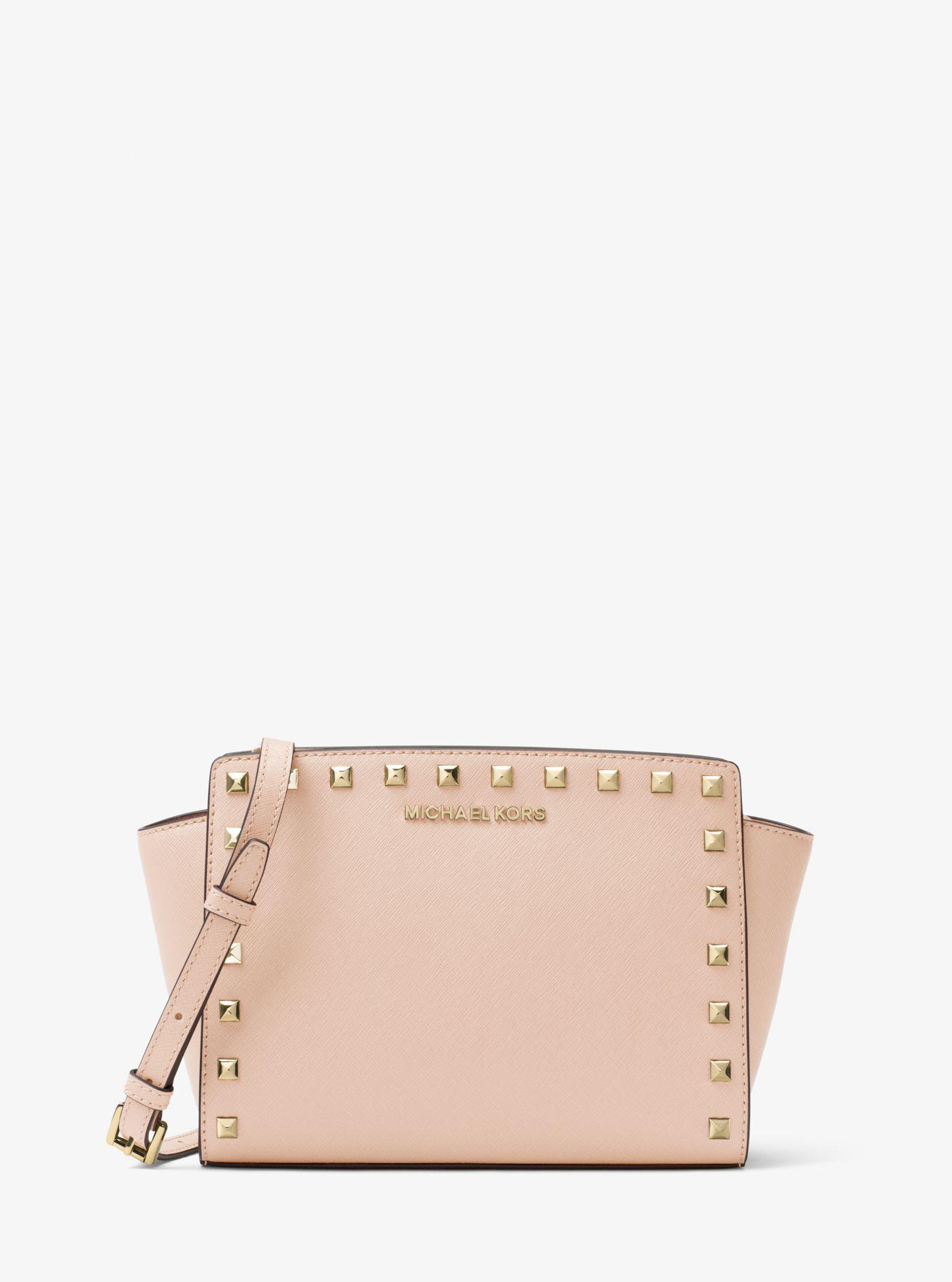 119c038e0050 Michael Kors Selma Medium Metallic Leather Crossbody in Pink - Lyst