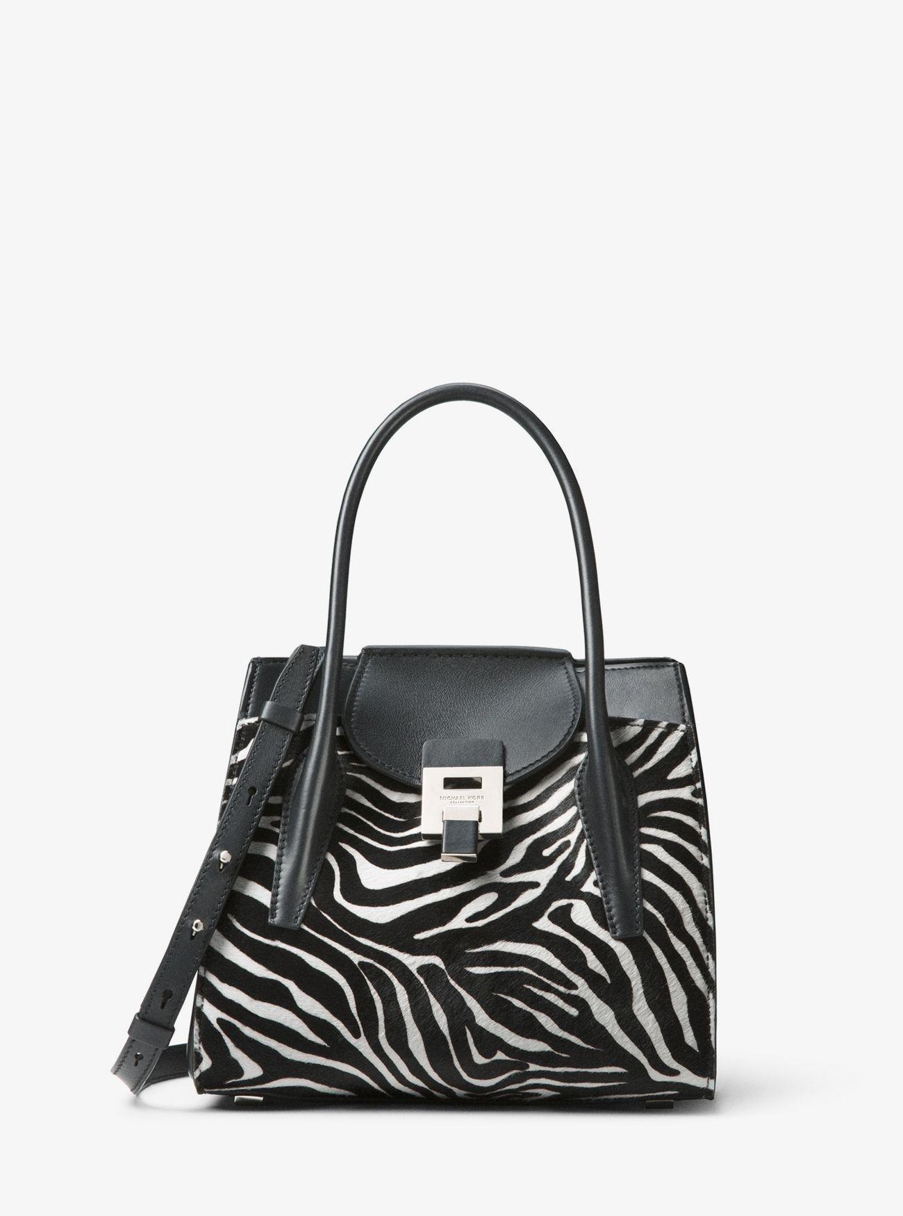 9985edcc3902 Michael Kors Bancroft Medium Zebra Calf Hair Satchel in Black - Lyst