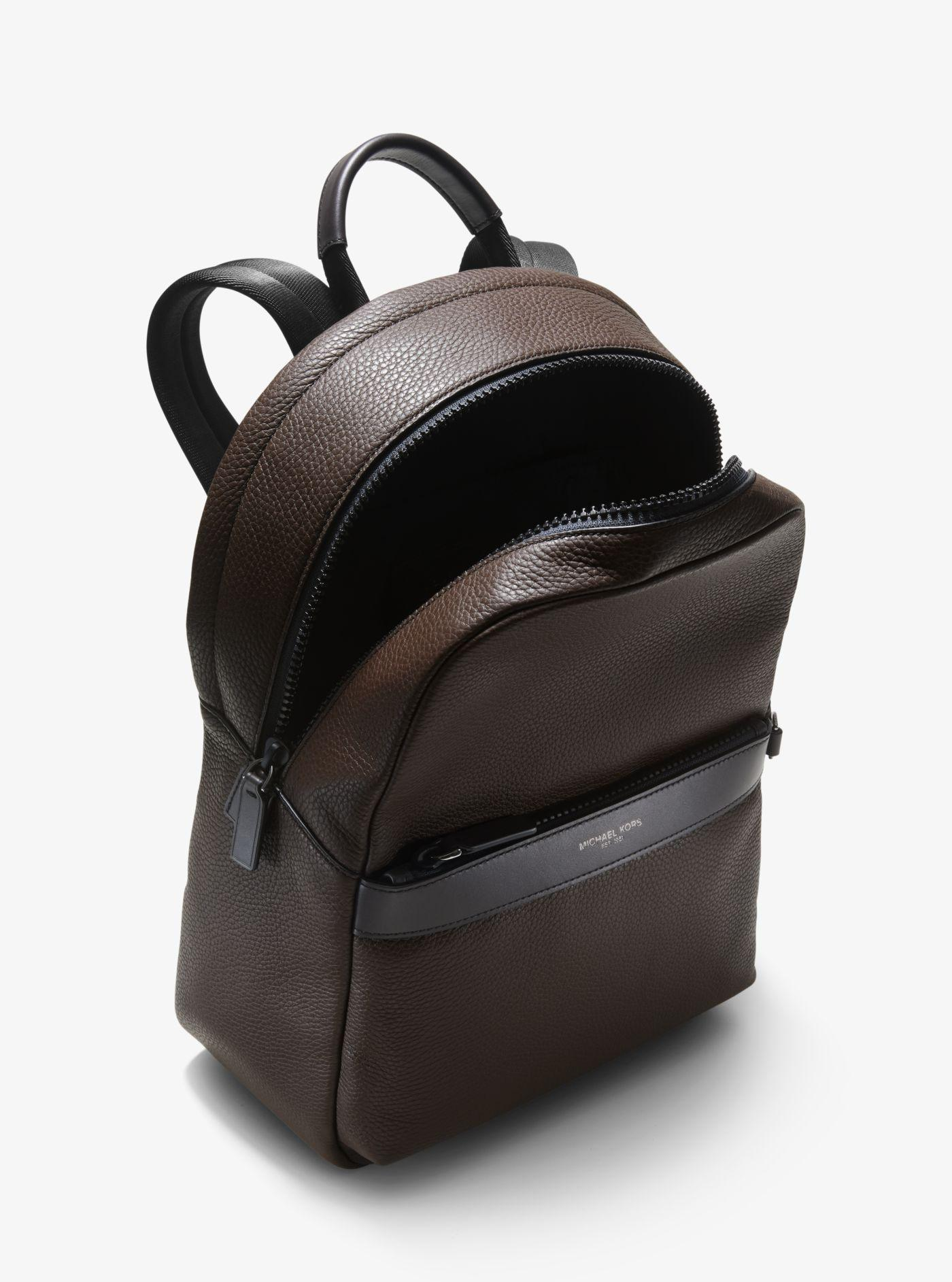 a373a6d90151 Michael Kors - Brown Greyson Pebbled Leather Backpack for Men - Lyst. View  fullscreen
