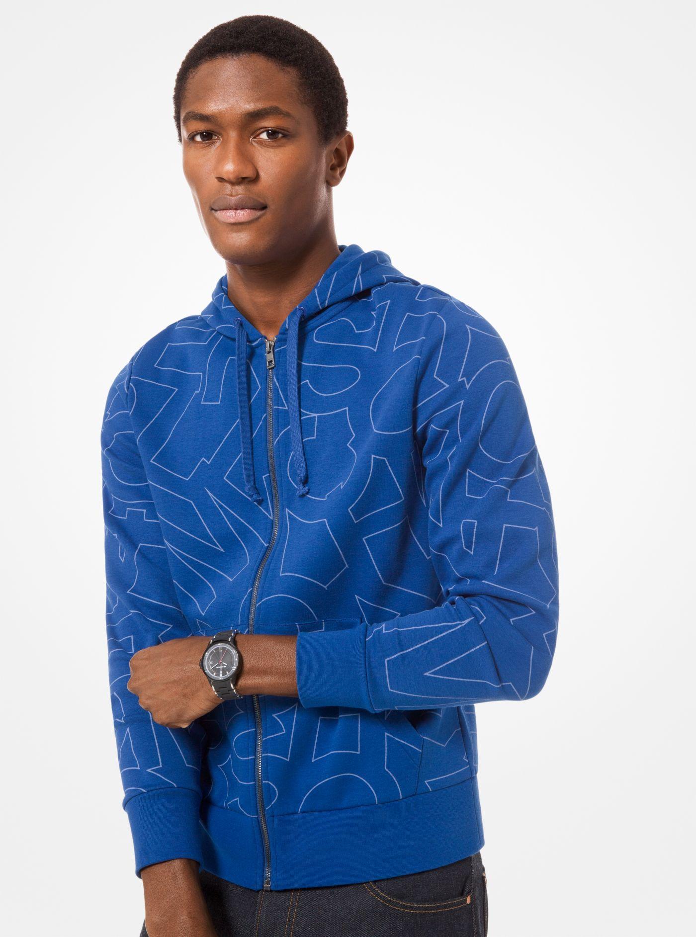 8e002887f4b4c Michael Kors Graphic Logo Print Cotton-blend Zip-up Hoodie in Blue ...