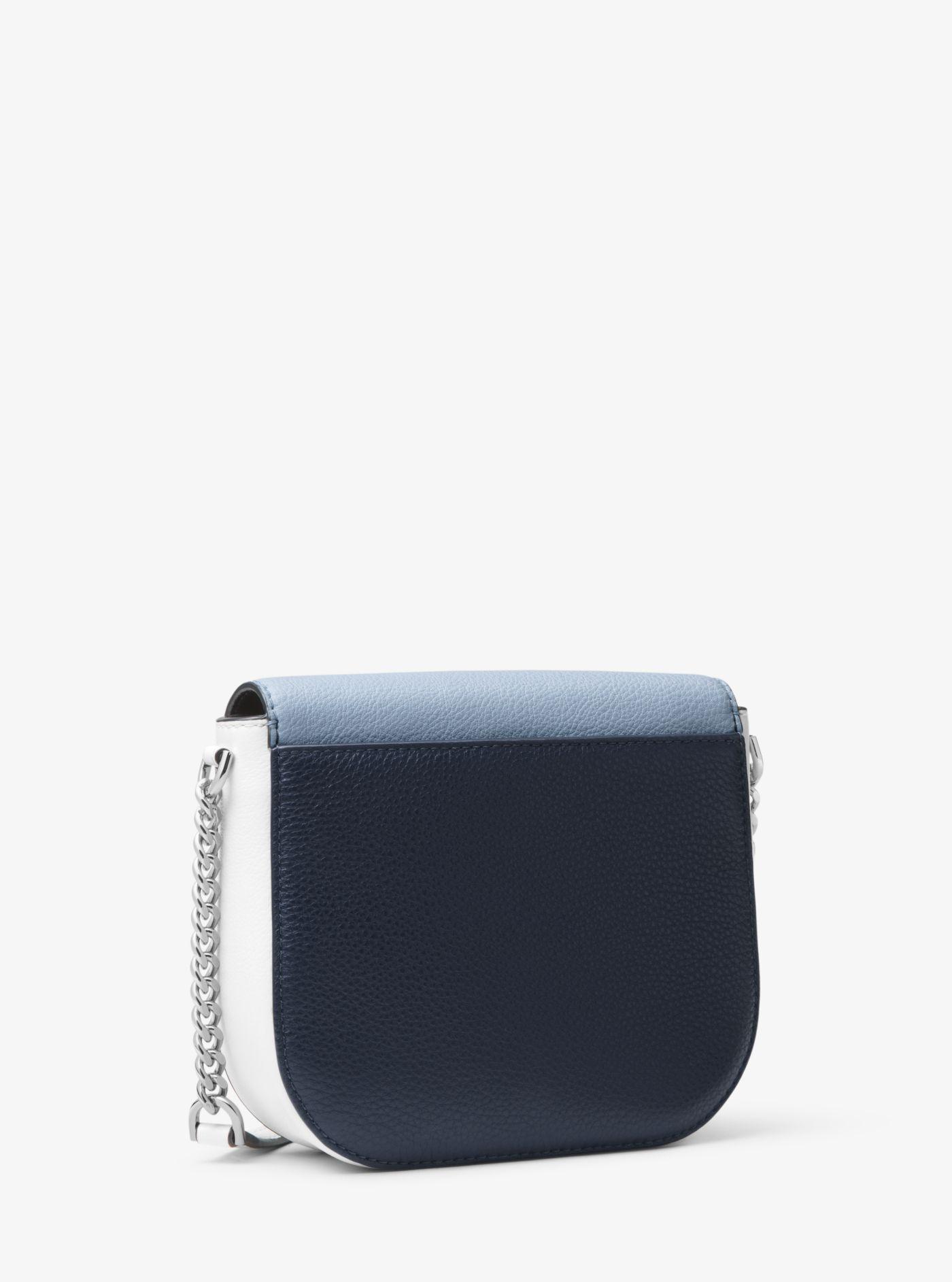 67b17c55777b73 Michael Kors Mott Color-block Leather Dome Crossbody Bag in Blue - Lyst