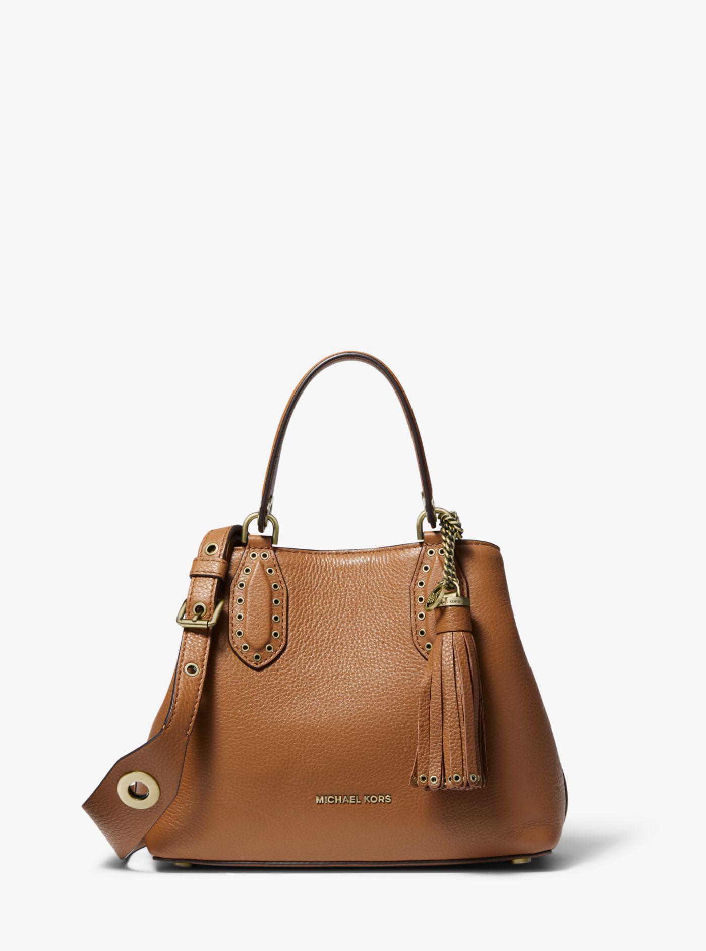 ac95a2157280 Michael Kors - Brown Brooklyn Small Pebbled Leather Satchel - Lyst. View  fullscreen