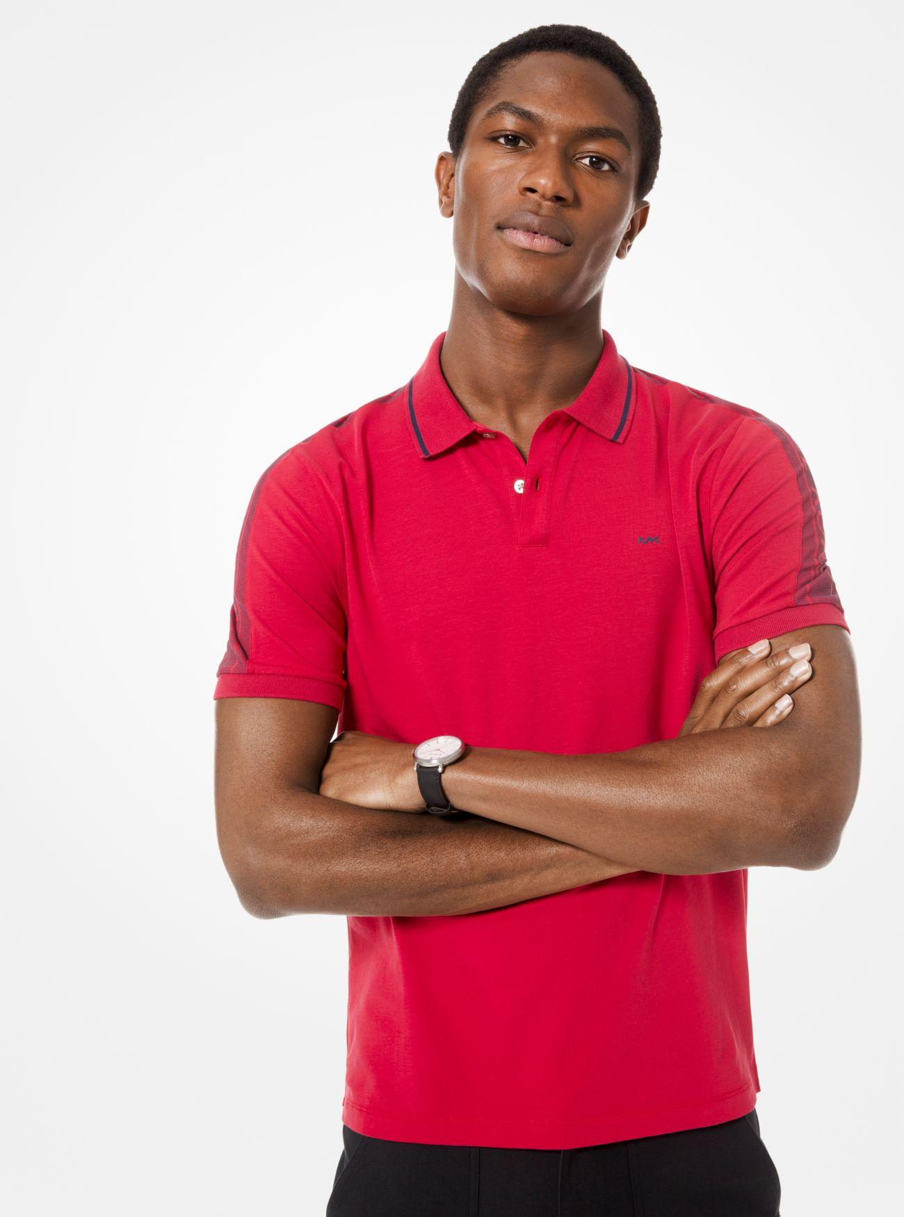 355793c33 Michael Kors Logo-sleeve Stretch-cotton Polo Shirt in Red for Men - Lyst