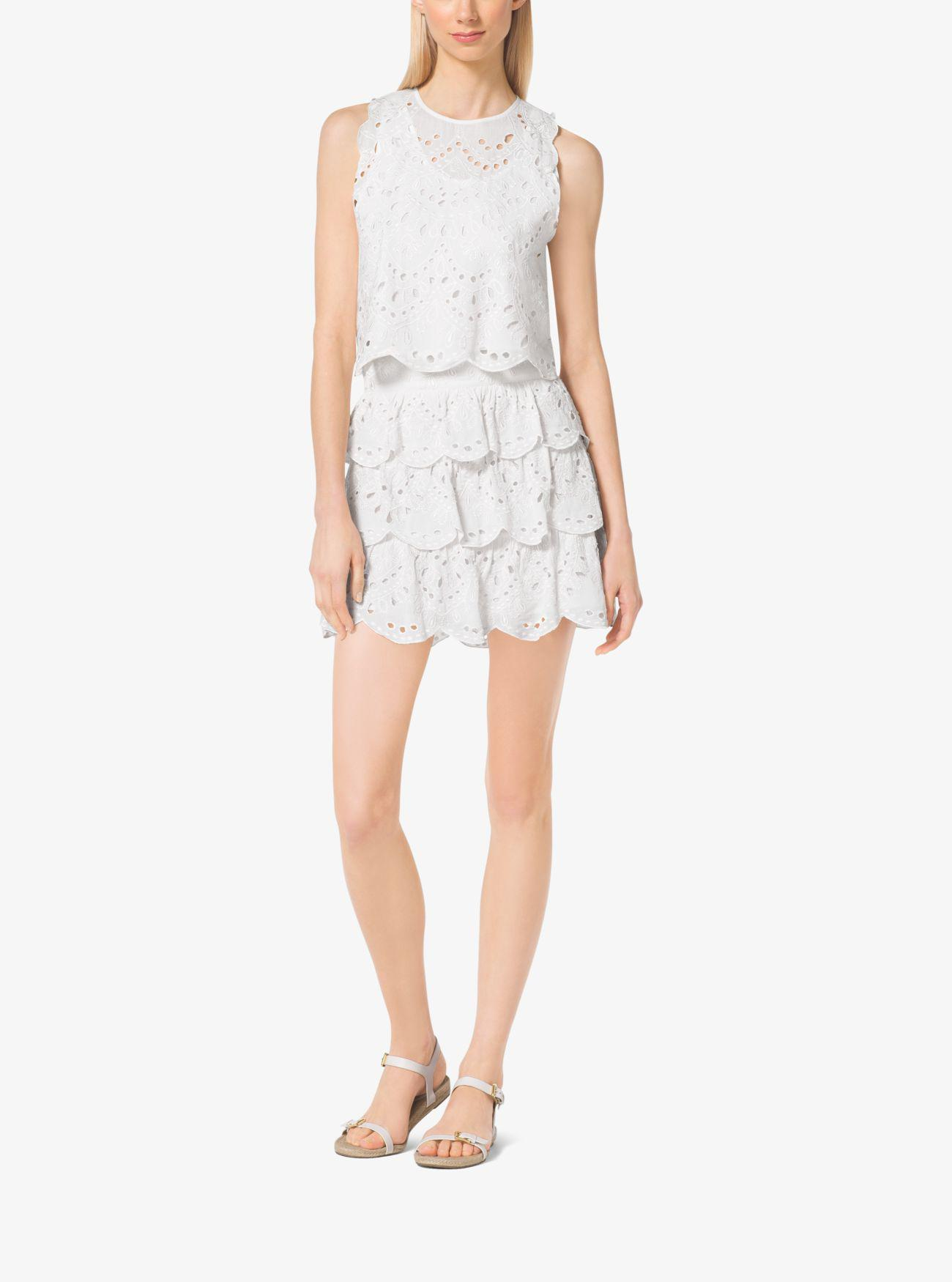 d344ed6eb57d Michael Kors Scalloped Eyelet-embroidered Cotton Skirt in White - Lyst