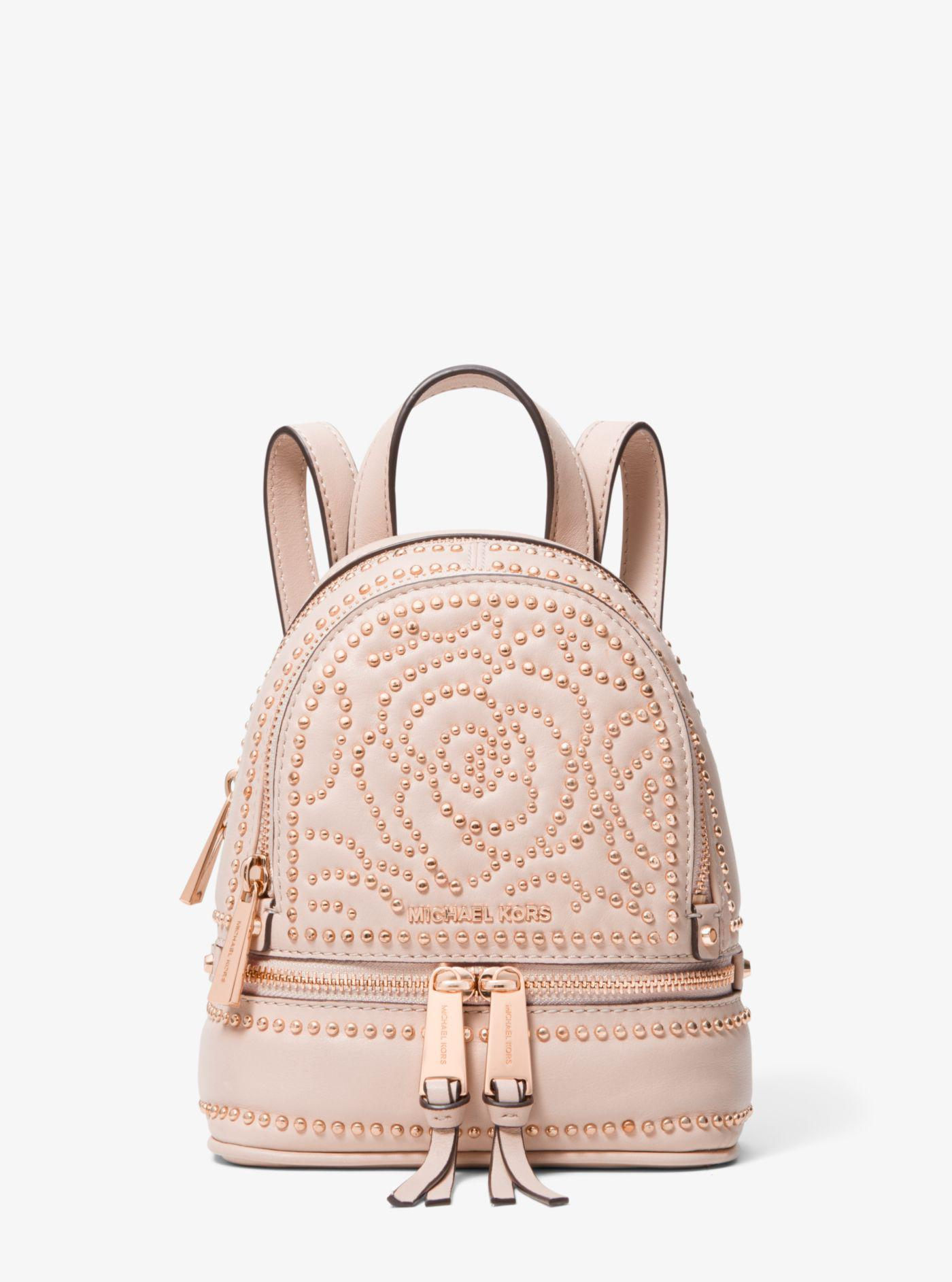 Michael Kors - Pink Michael Rhea Mini Zip Studded Convertible Backpack -  Lyst. View fullscreen 6b89868ba1