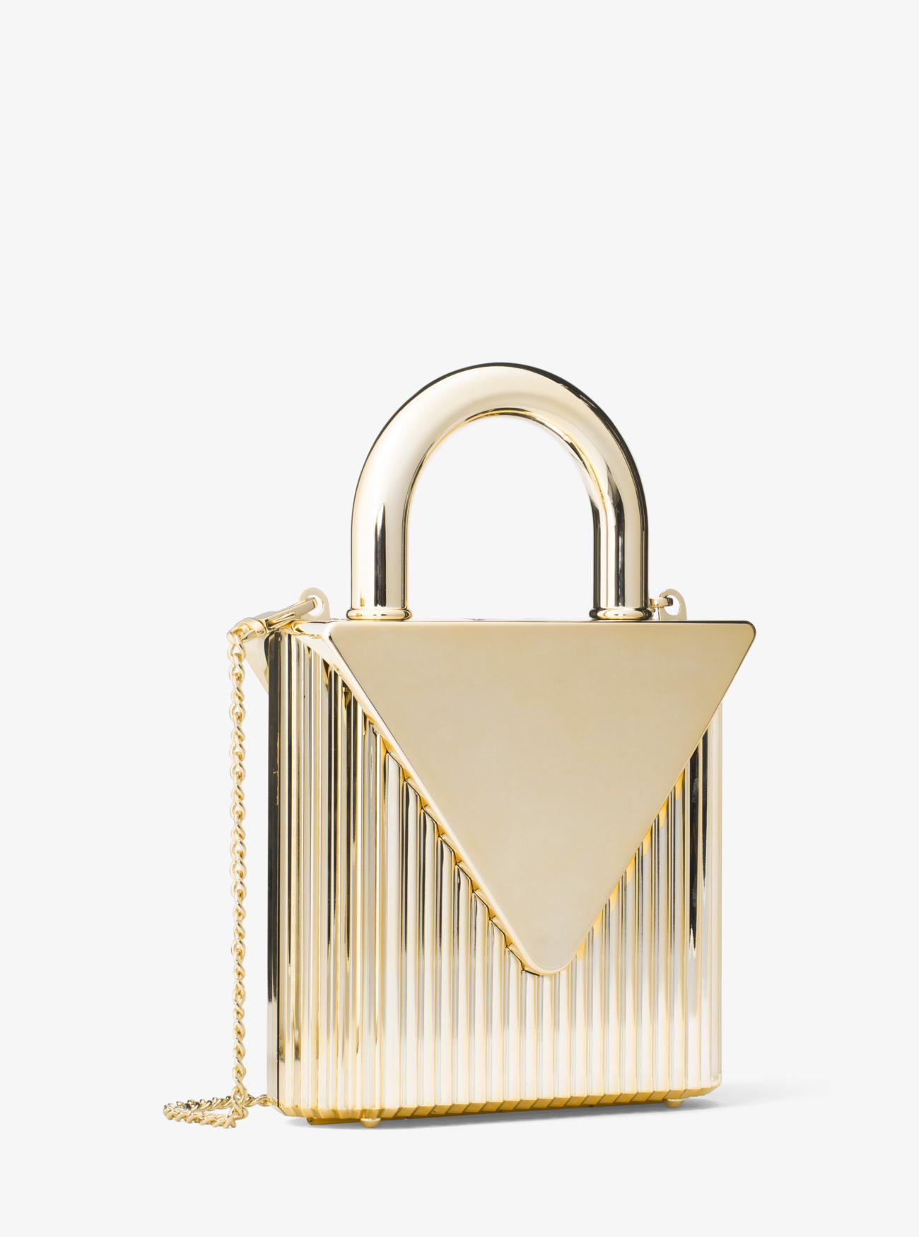 40f71505884b4b Michael Kors Mercer Lock Clutch in Metallic - Lyst