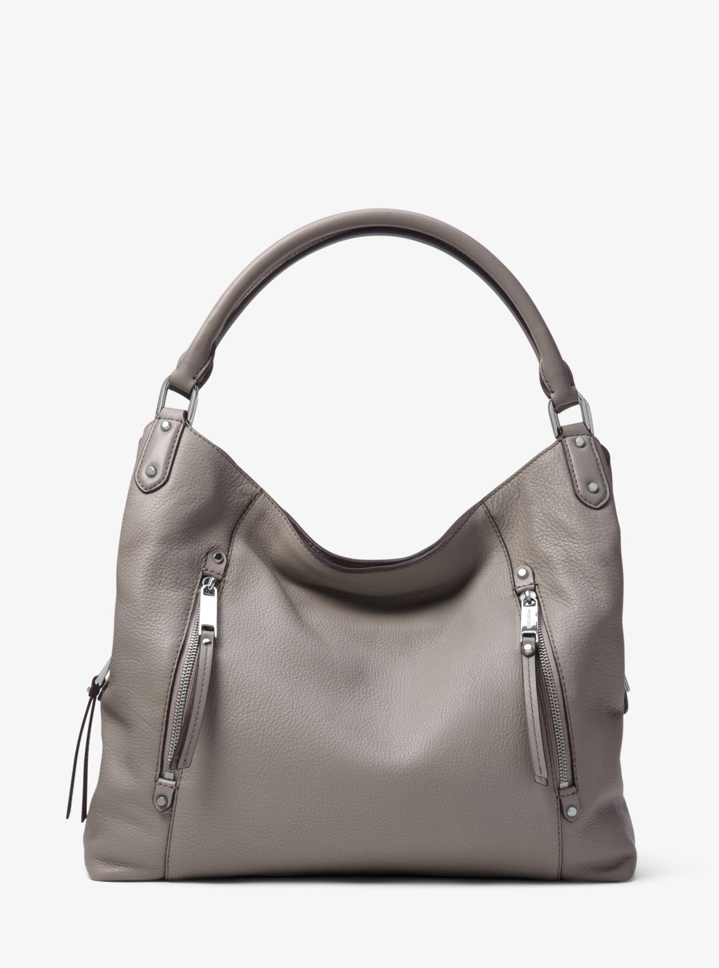6913249b848d Lyst - Michael Kors Evie Large Leather Shoulder Bag in Gray