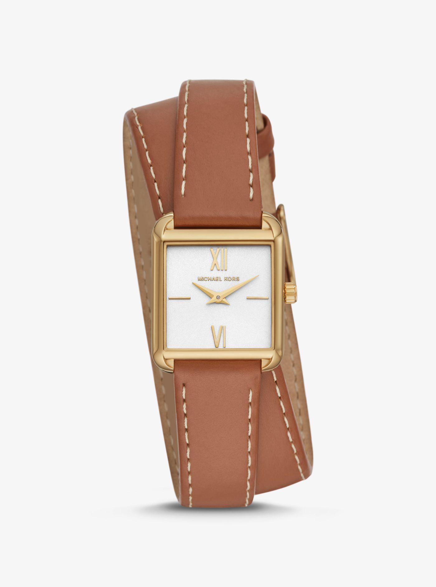 f5b009c28f33f Michael Kors - Metallic Lake Gold-tone And Leather Wrap Watch - Lyst. View  fullscreen