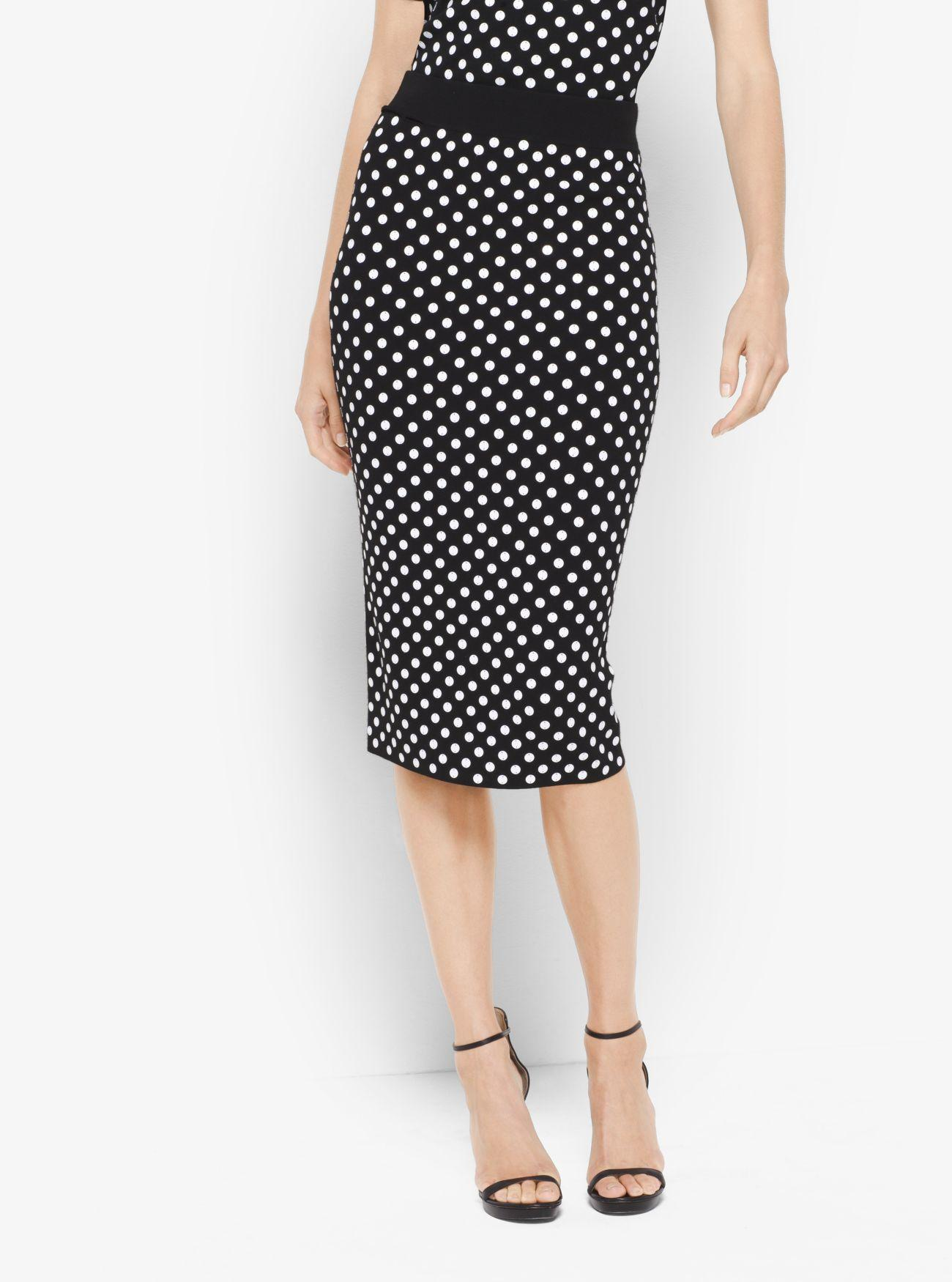 Michael kors Sequined Polka Dot Pencil Skirt in Black | Lyst