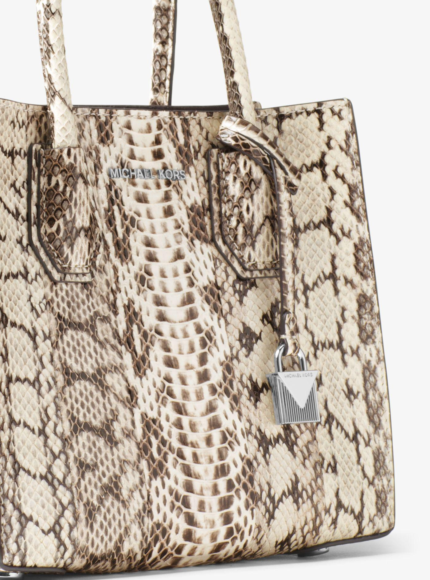 7daa1f51afcf ... switzerland michael kors natural mercer snakeskin crossbody lyst. view  fullscreen a0e6f 6f884