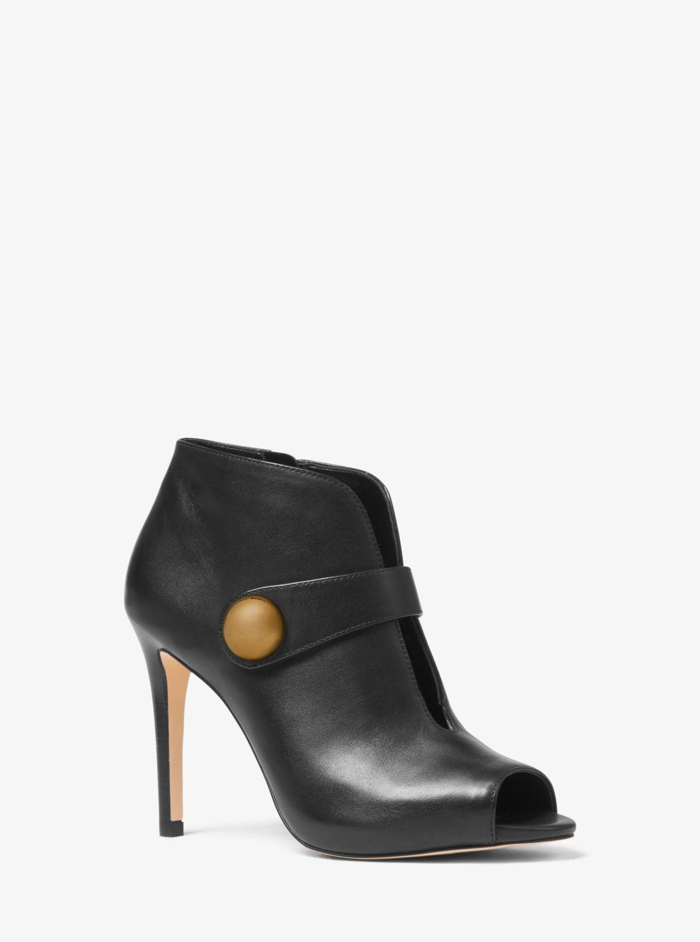 cf7420d9eef50 Michael Kors Agnes Leather Bootie in Black - Save 71% - Lyst