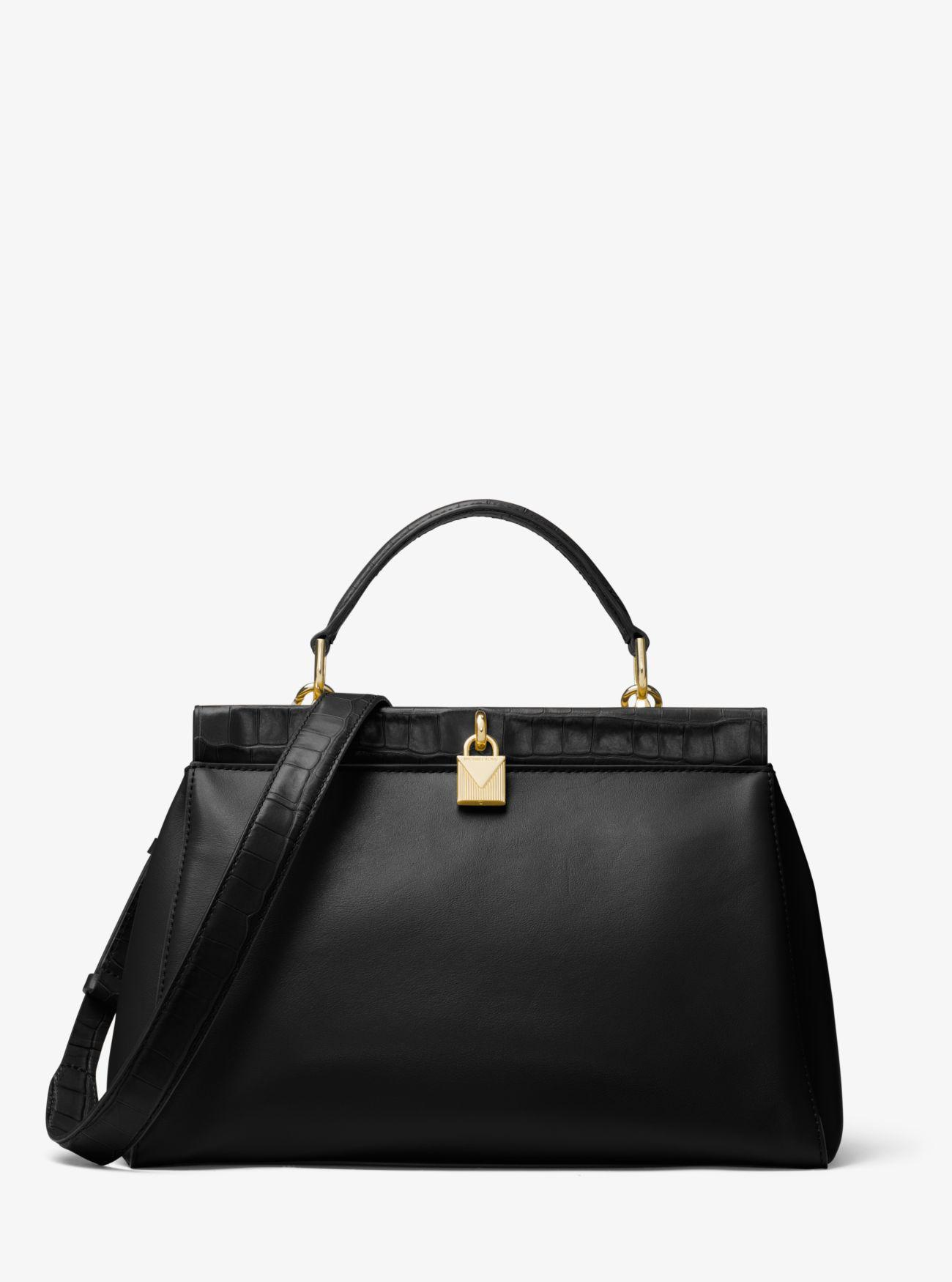 a924a2bca52286 Michael Kors Gramercy Leather Frame Satchel in Black - Lyst
