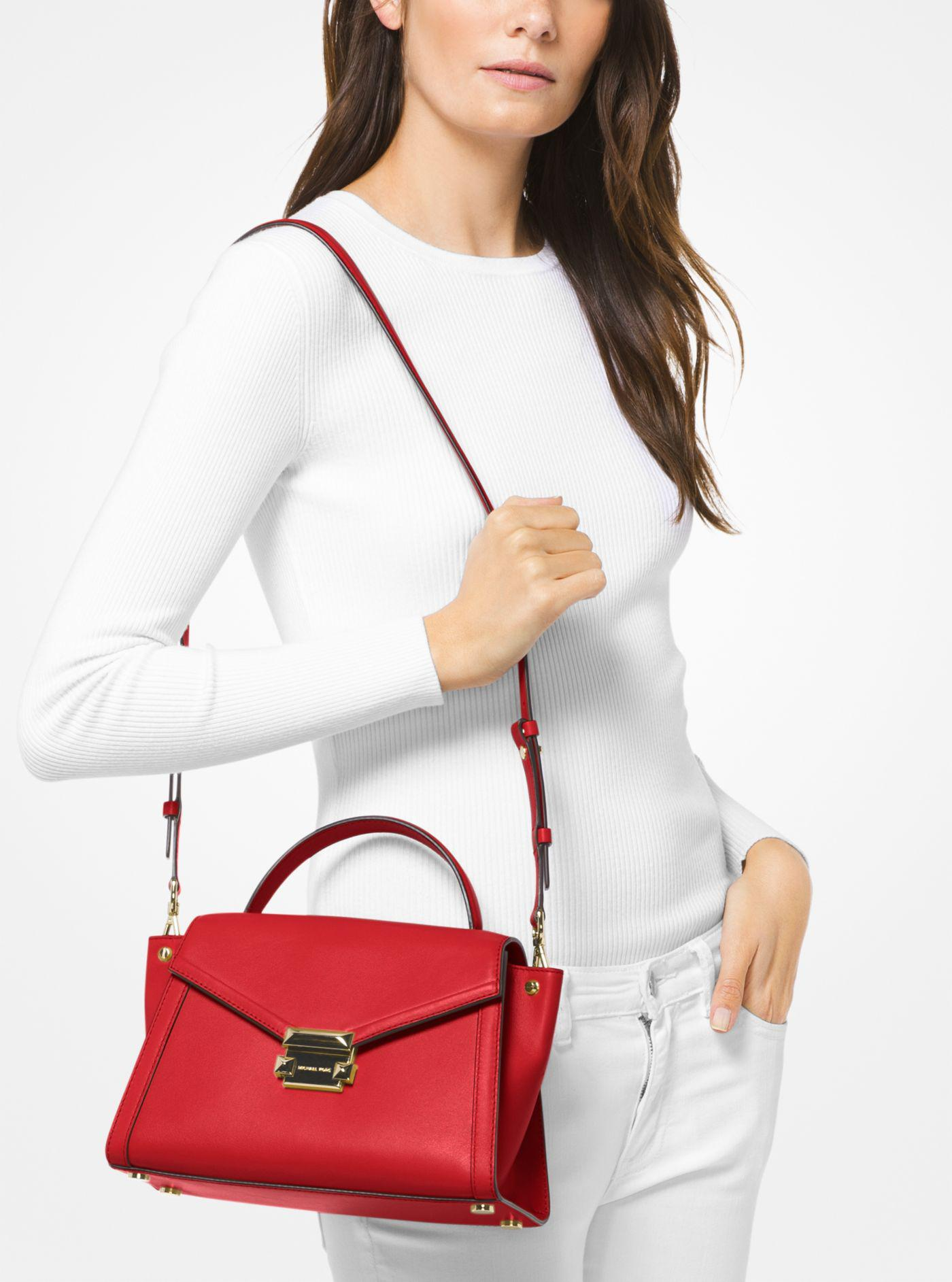 6872afe688440e Michael Kors Whitney Medium Leather Satchel in Red - Lyst