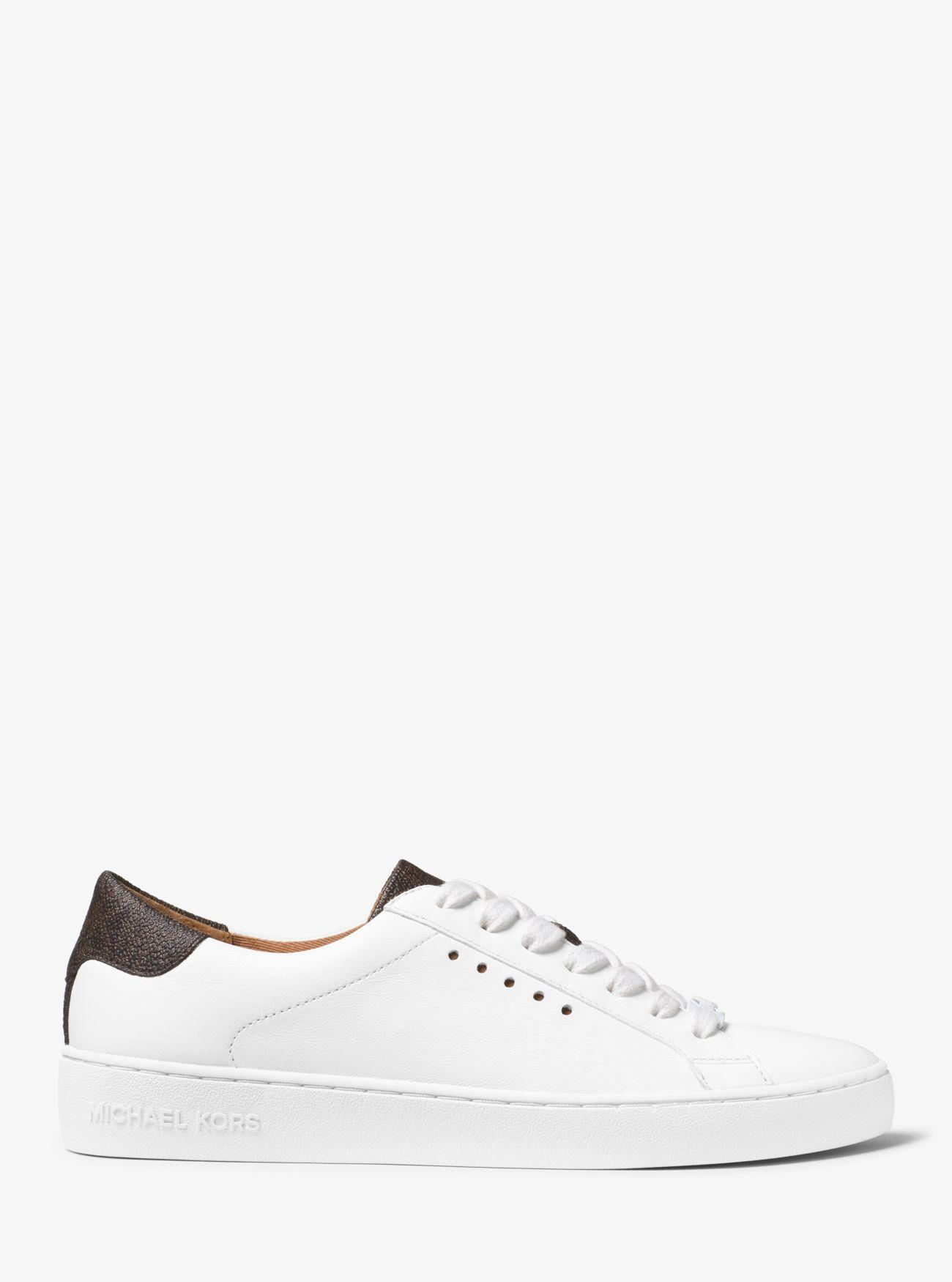 04924733f5a Michael Kors - Brown Irving Leather And Logo Sneaker - Lyst. View fullscreen