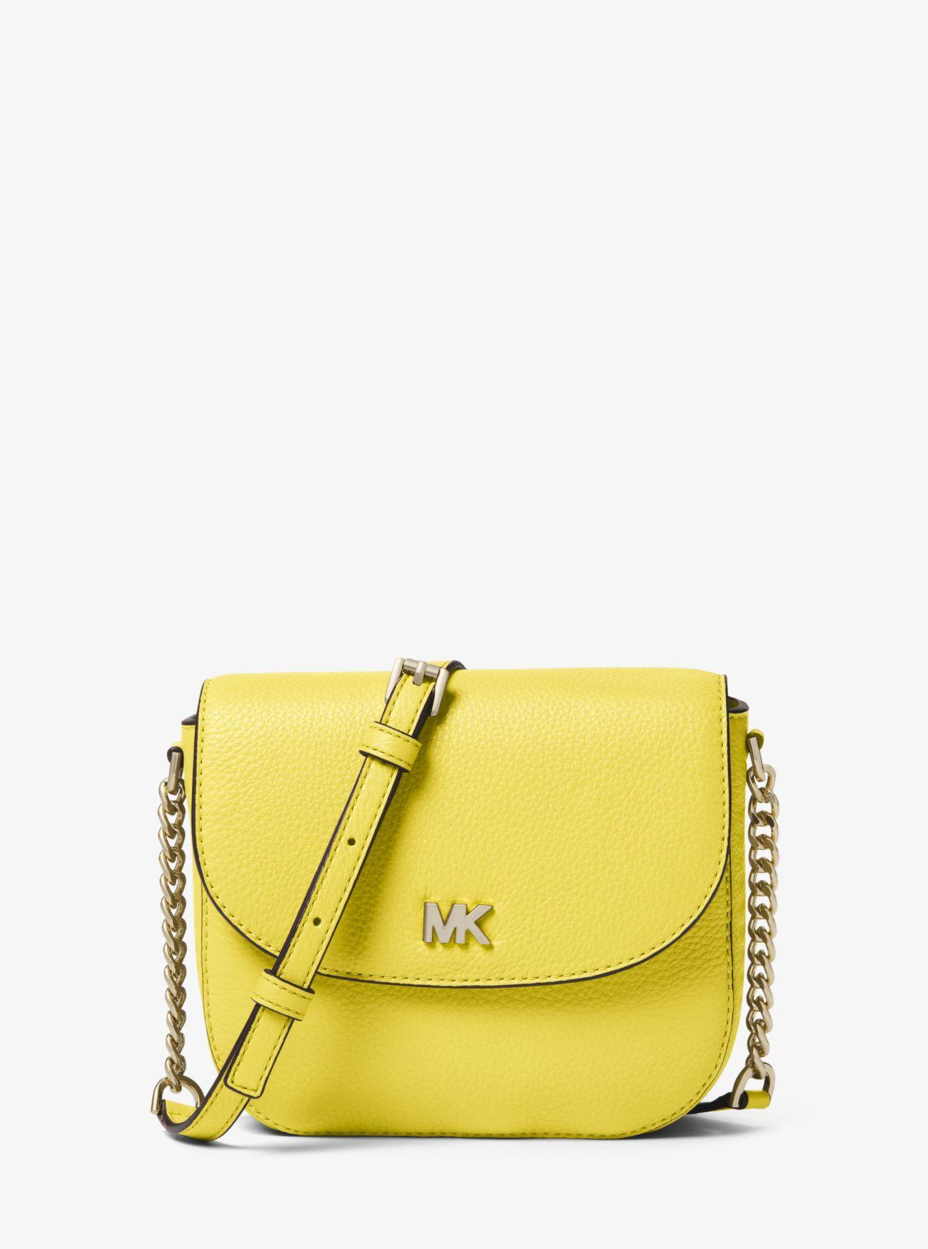 5bcf953144c2 MICHAEL Michael Kors. Women's Yellow Mott Pebbled Leather Dome Crossbody Bag